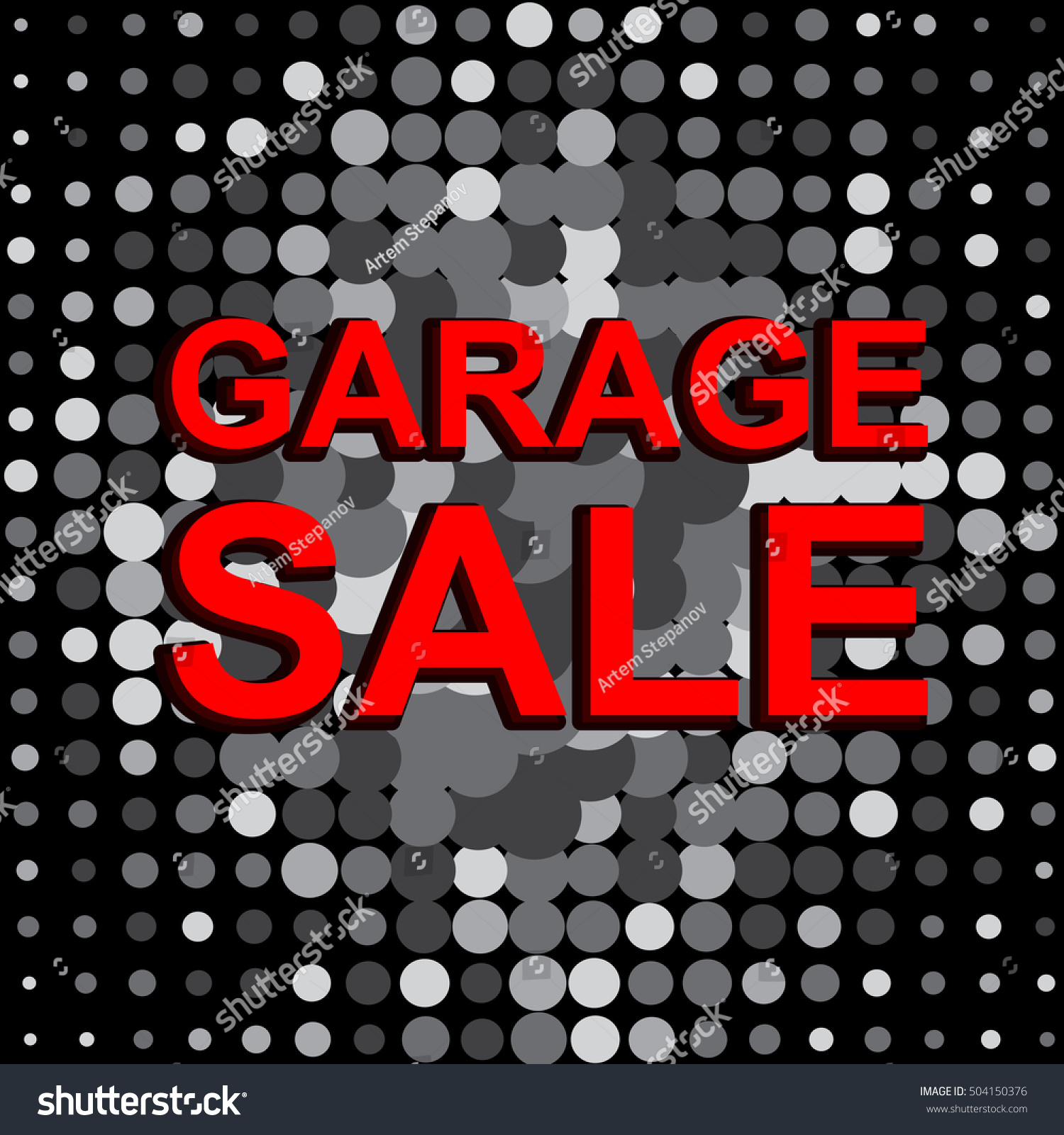 big sale poster with garage sale text advertising monochrome and red vector banner template