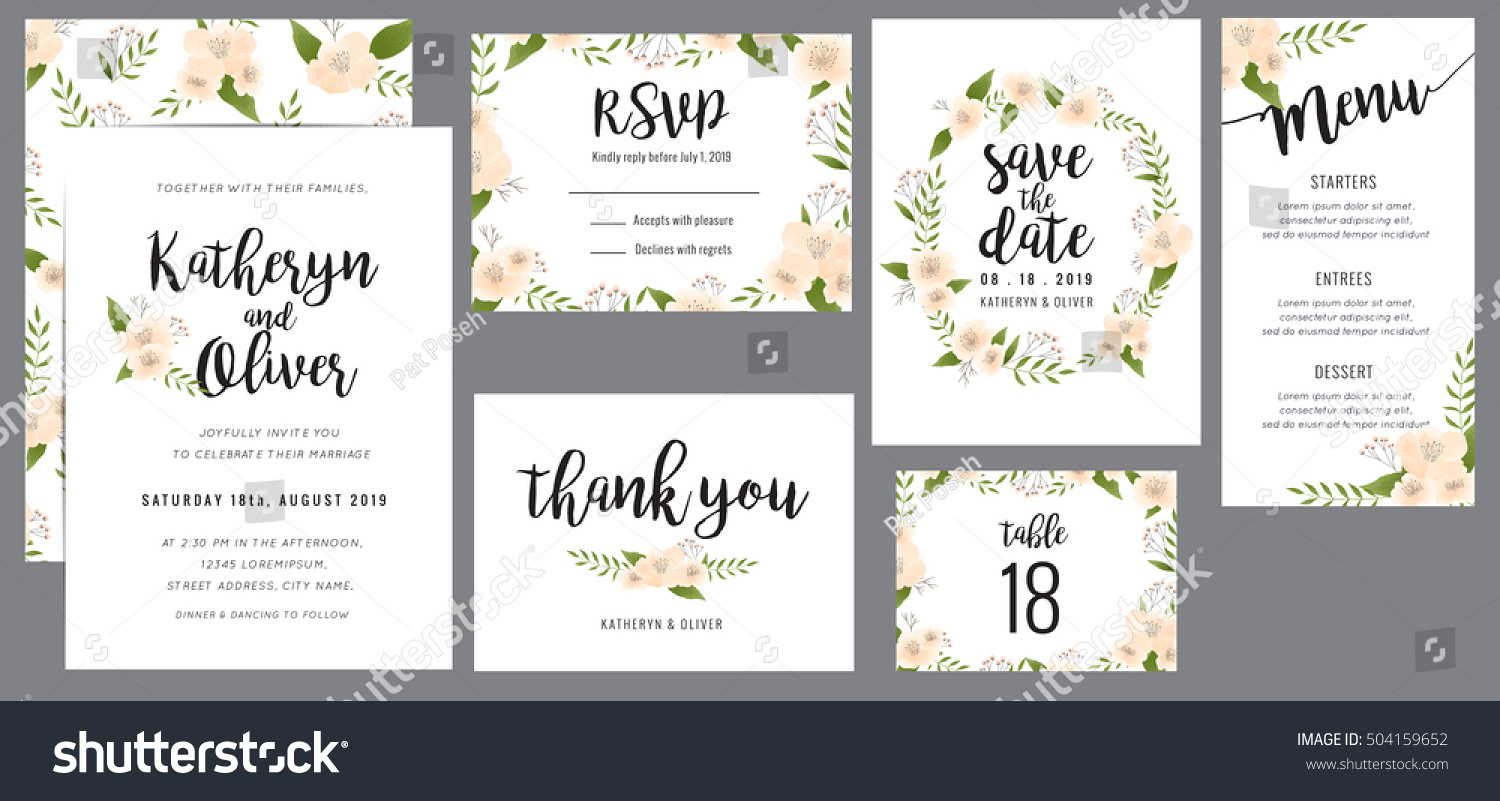 Wedding suite template decorate with wreath flowers. Including save the date card, invitation card, wedding menu, response card and thank you card. Vector illustration. #504159652