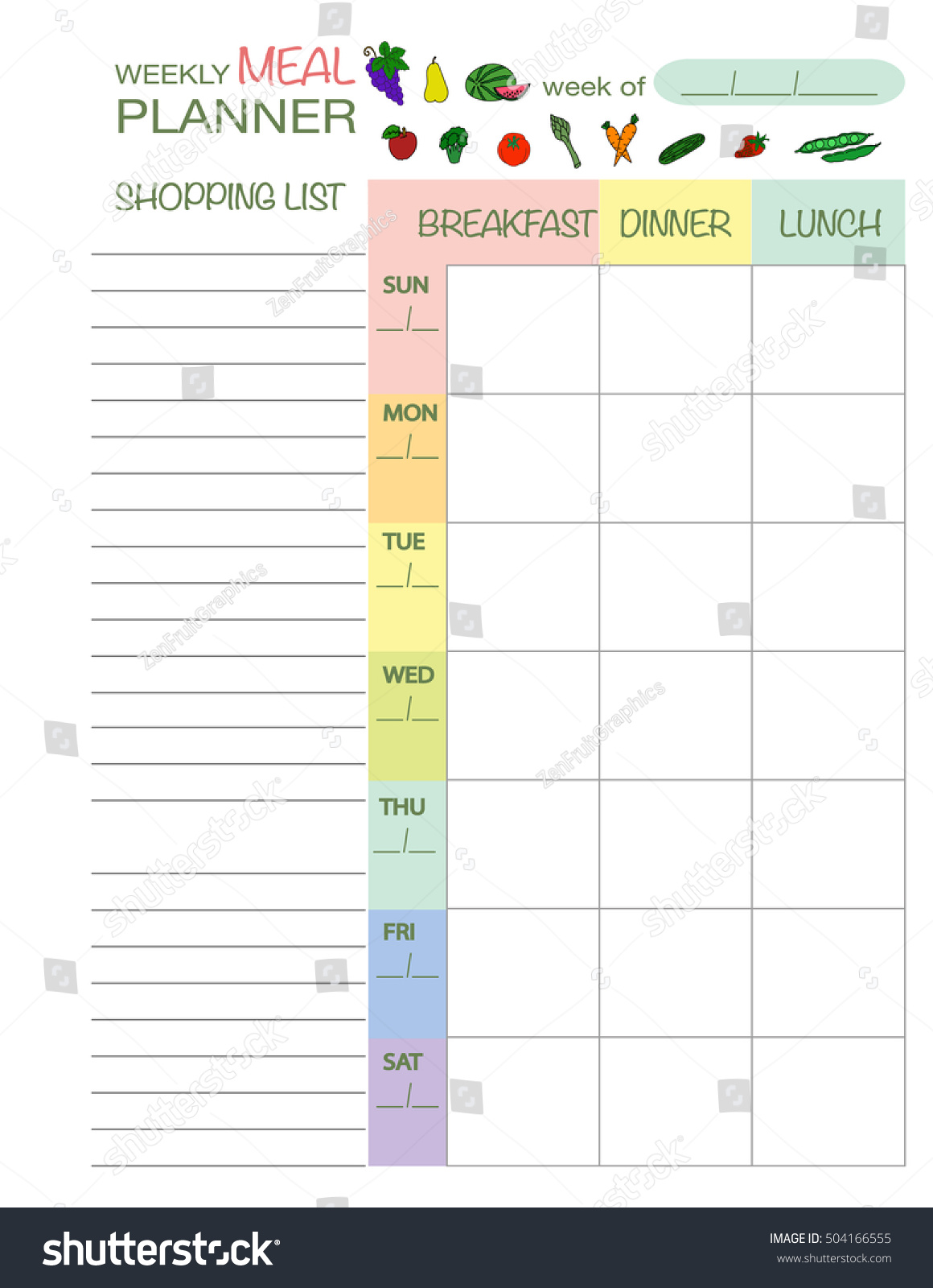 weekly menu planner template meal schedule stock vector royalty