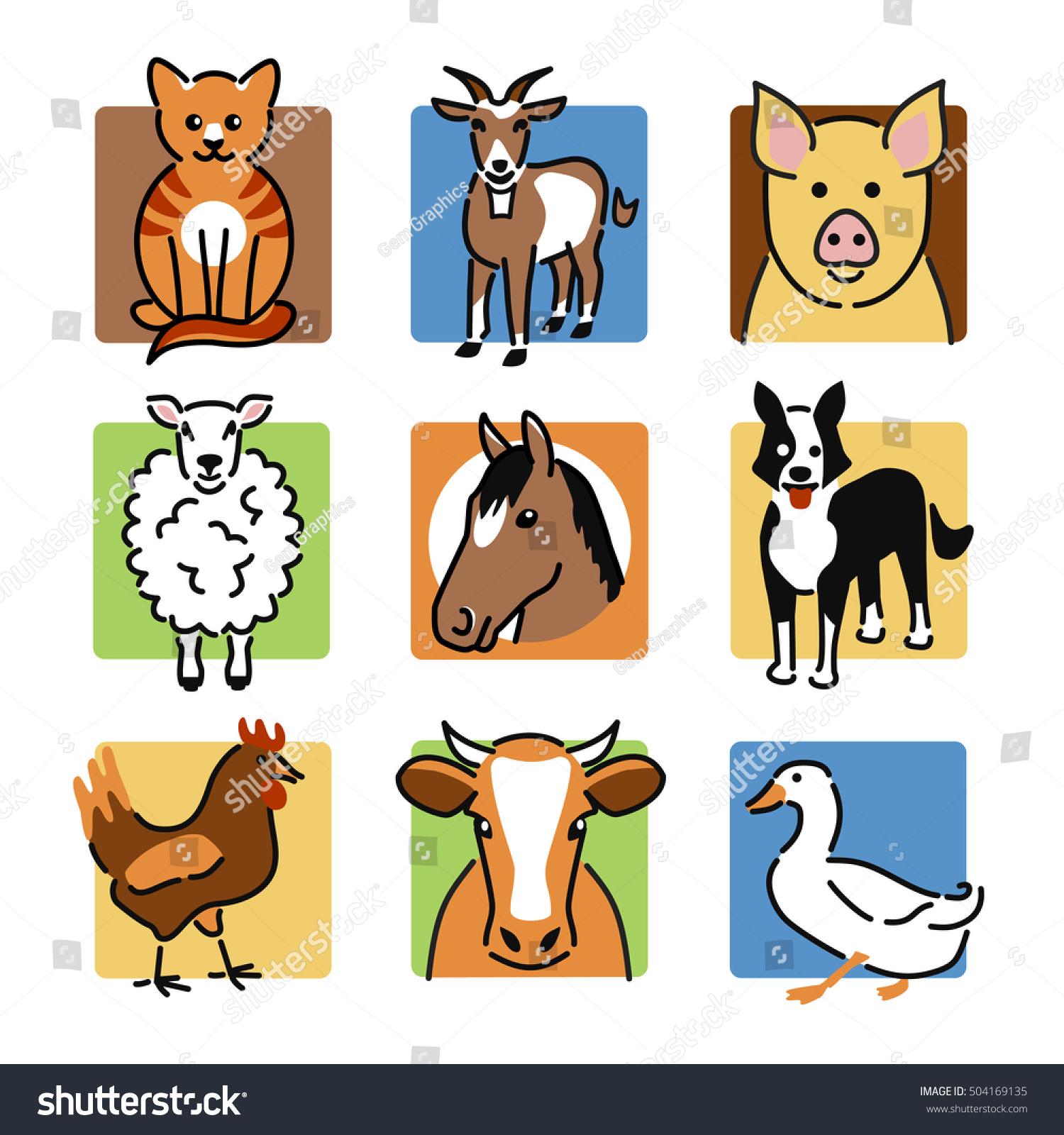 Nine Popular Farm Pet Animals Colour Stock Vector 504169135 ...