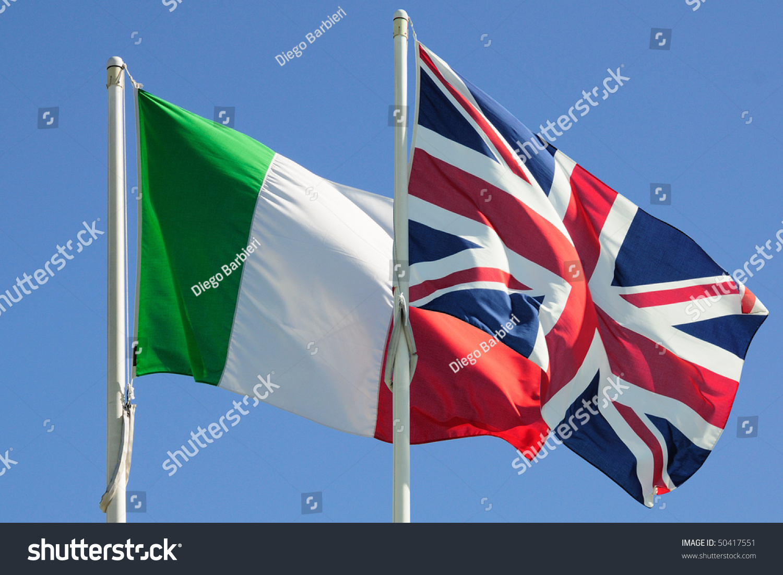 italian british flags on blue sky stock photo 50417551 shutterstock