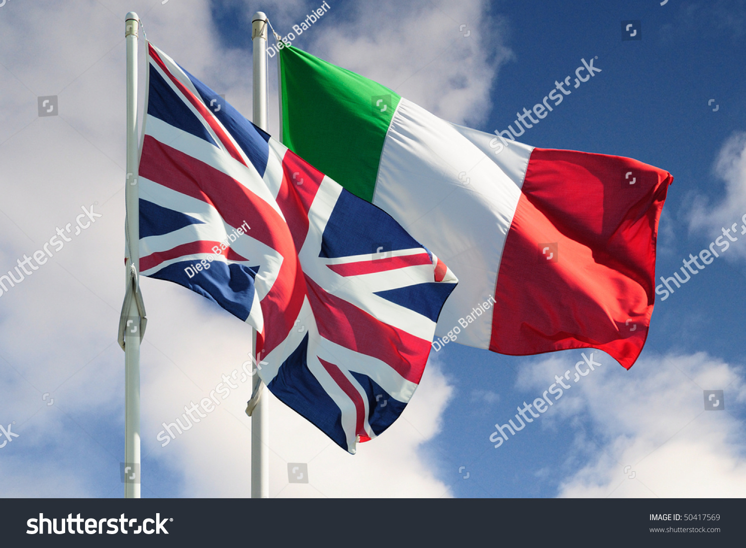 italian british flags on cloudy background stock photo 50417569