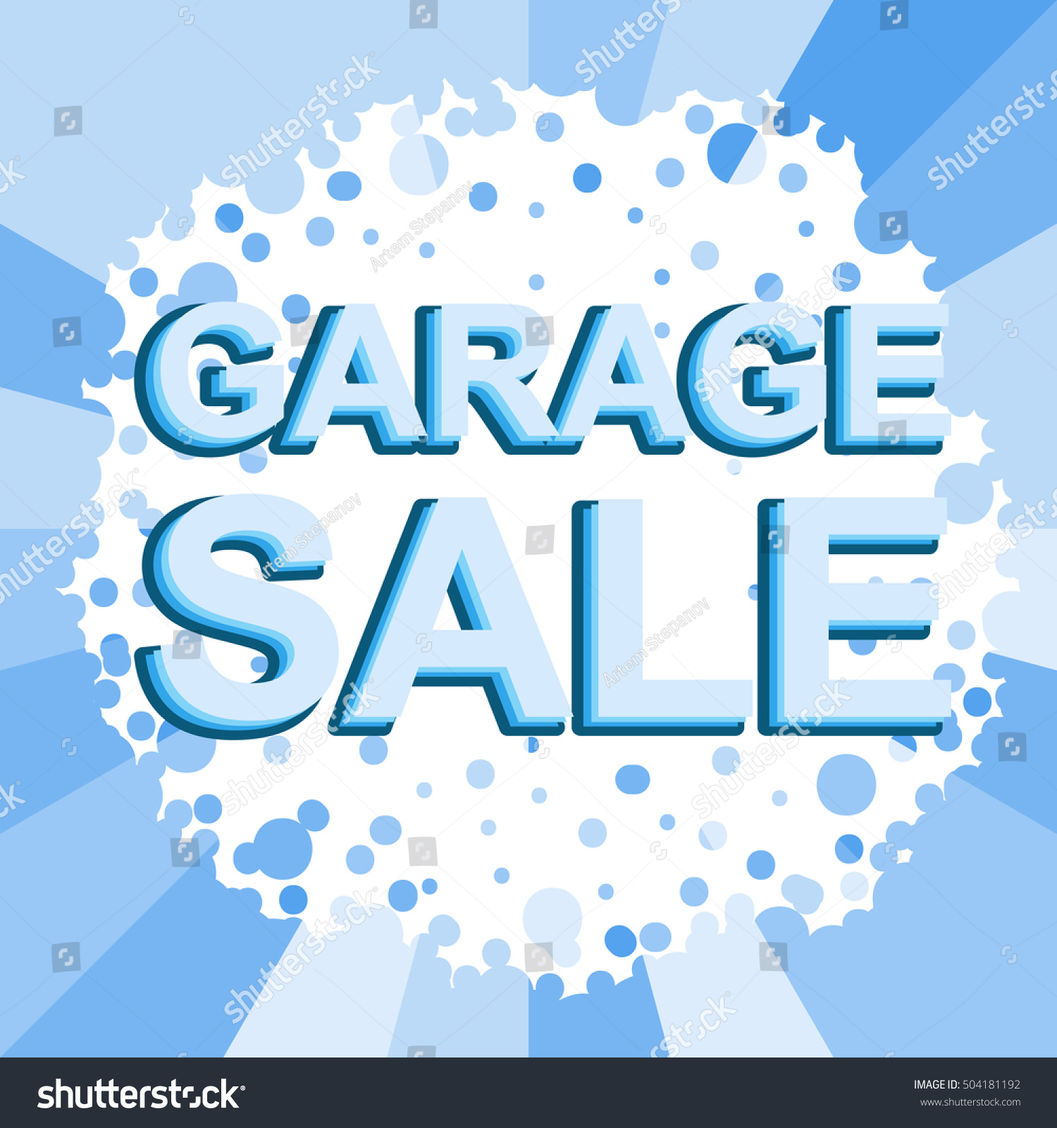 big winter sale poster with garage sale text advertising blue