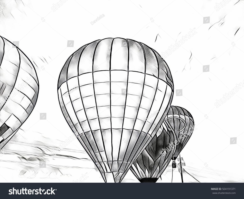 Air Balloon Flying Blue Sky Monochrome Stock Illustration 504191371 ...