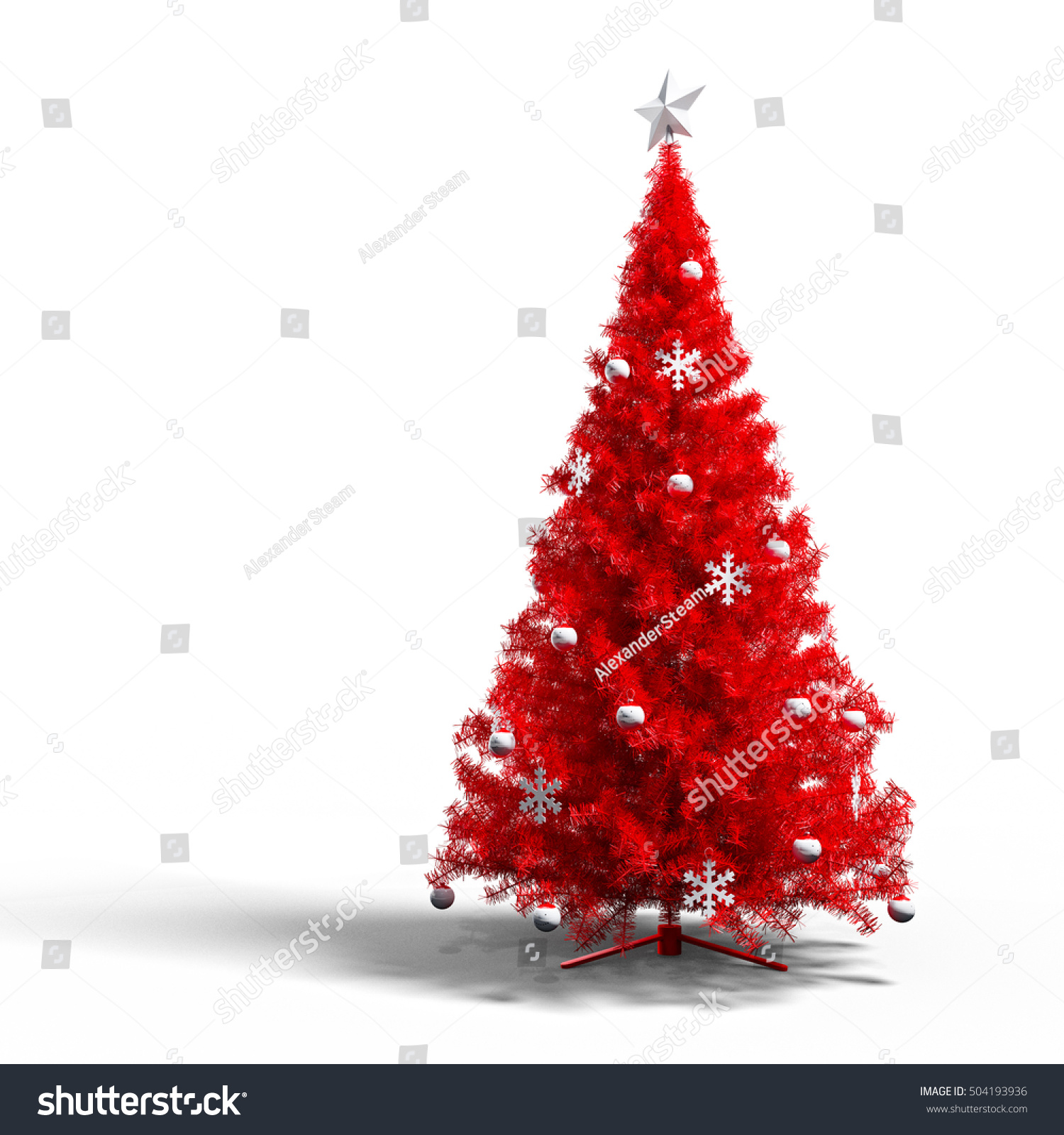 Red Christmas Treefurry Fur Tree Beautiful Christmas Tree Christmas Decorations
