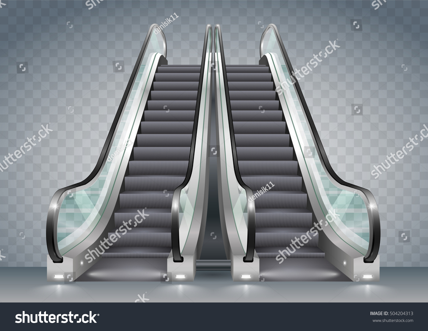 Double escalator shopping center or office with clear glass Vector graphics