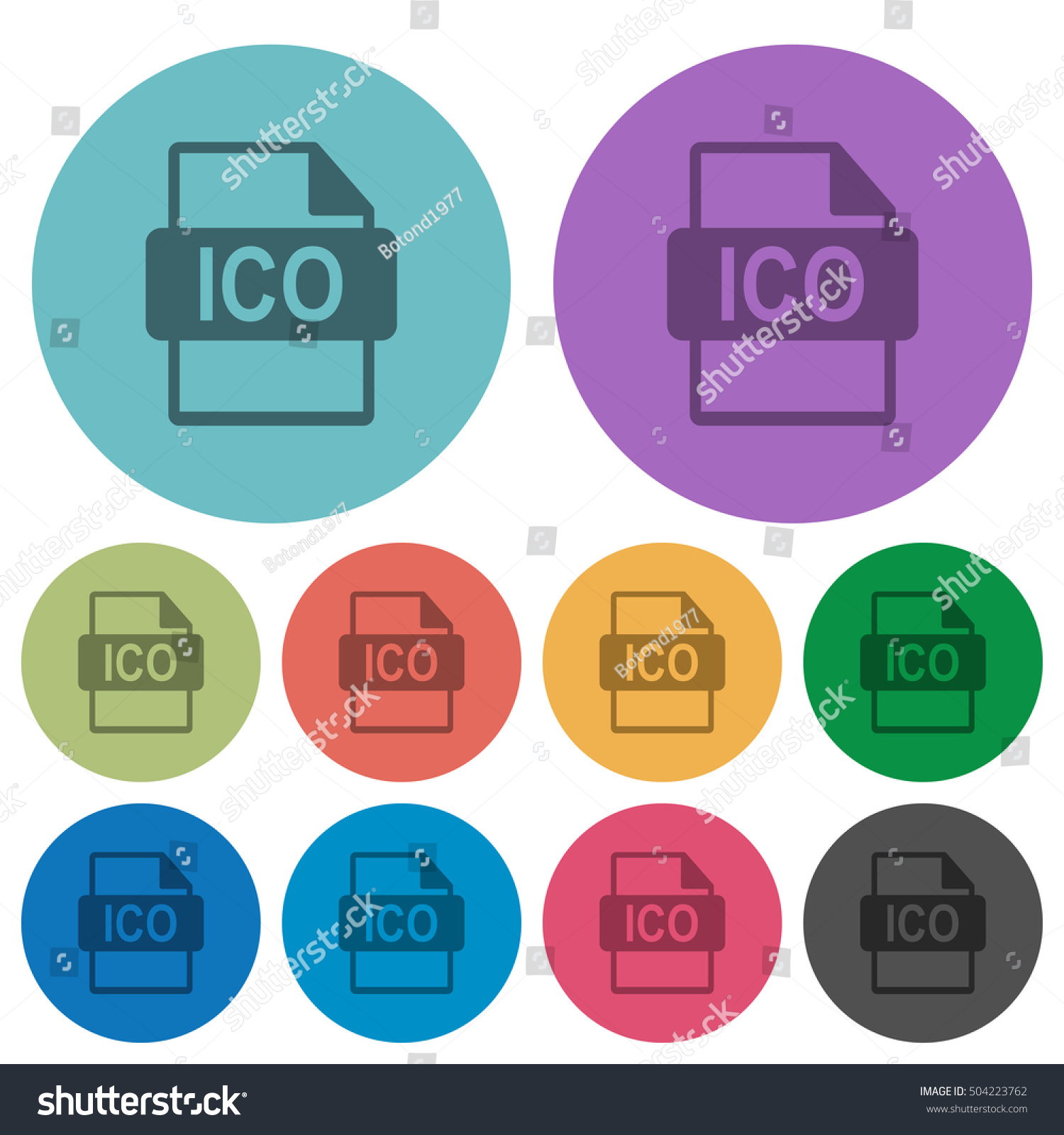 ico file format flat icons on stock vector 504223762 shutterstock. Black Bedroom Furniture Sets. Home Design Ideas