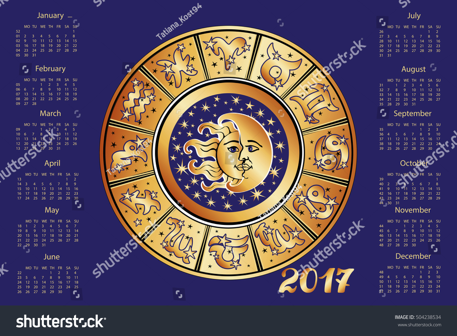 horoscope en espanol 2017 new year calendarhoroscope circle zodiac stock vector. Black Bedroom Furniture Sets. Home Design Ideas