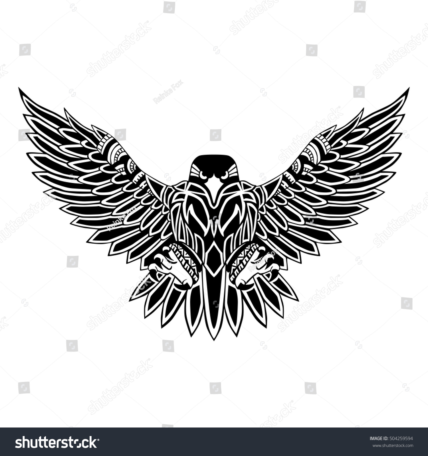 Flying eagle black silhouette with a pattern on its body hand drawing in ethnic style tattoo design stock photo