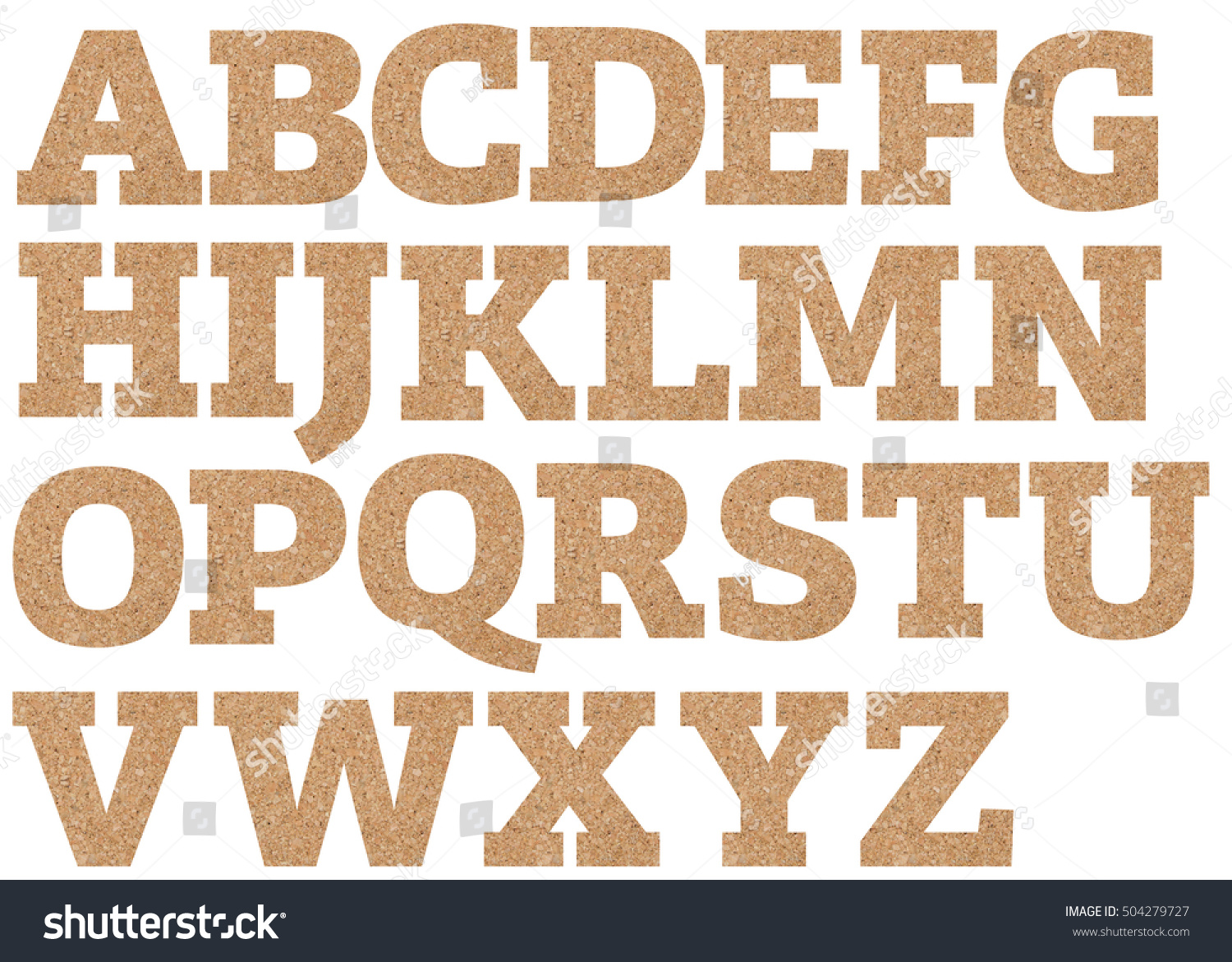 cork board font letters of english alphabet on a transparent wipe board