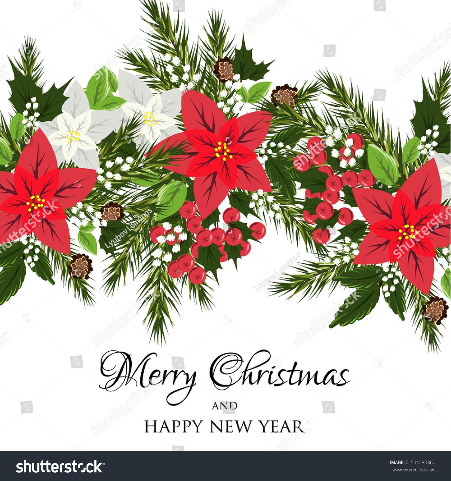 Christmas Party Invitation Holiday Wreath Poinsettia Stock Vector ...