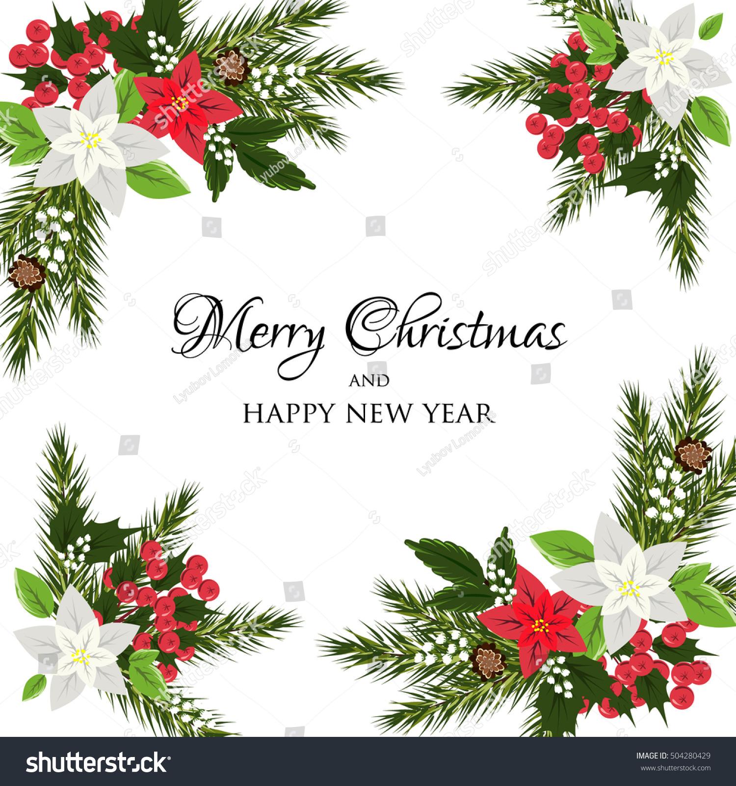 christmas party invitation holiday wreath poinsettia stock