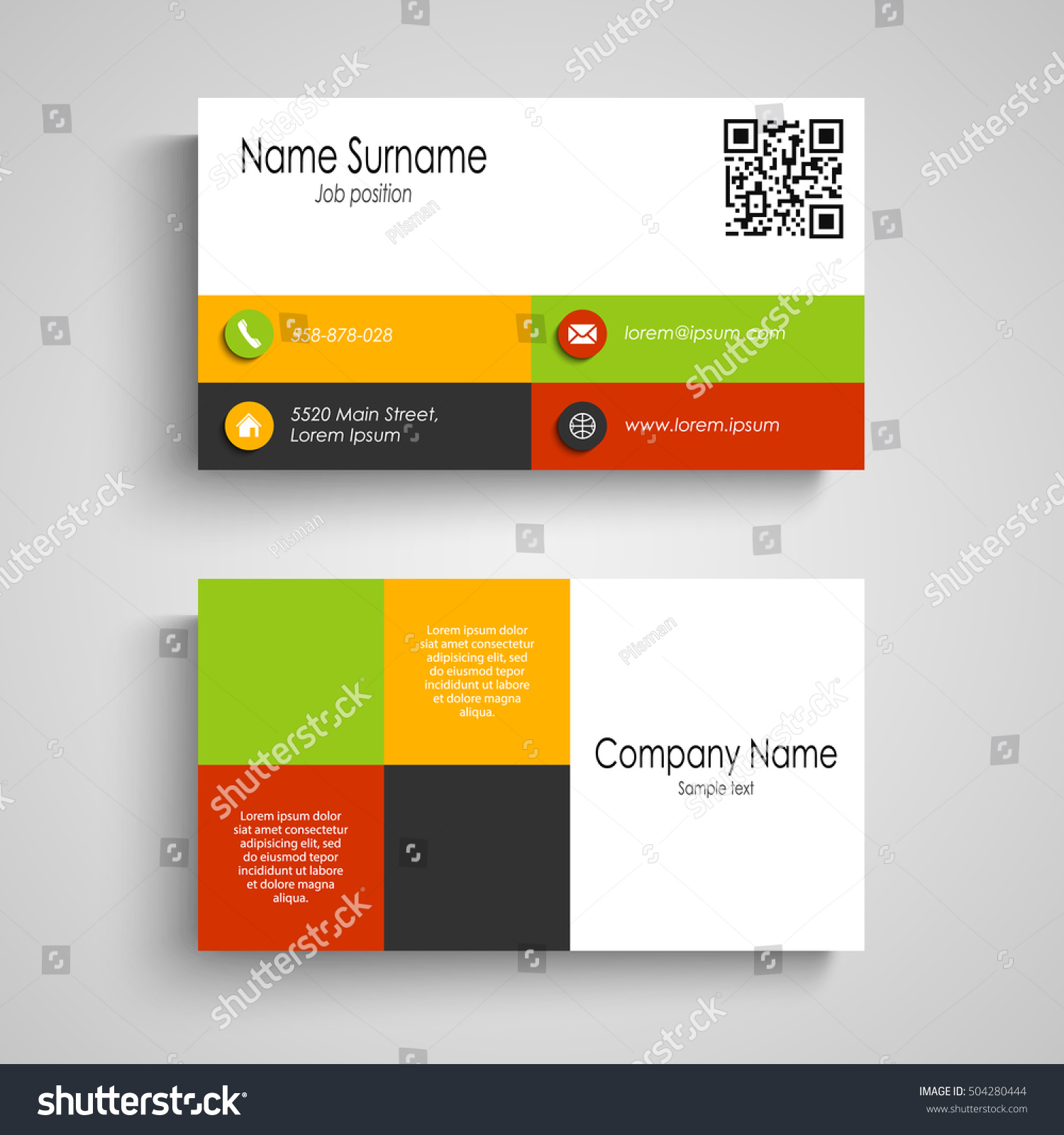Business Card With Colored Design Squares Stock Vector