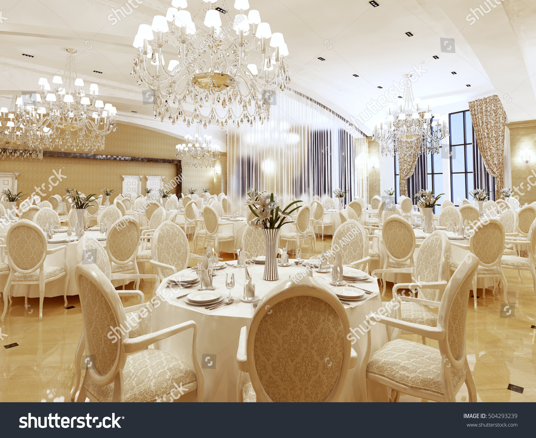 ballroom restaurant classic style interior yellow stock