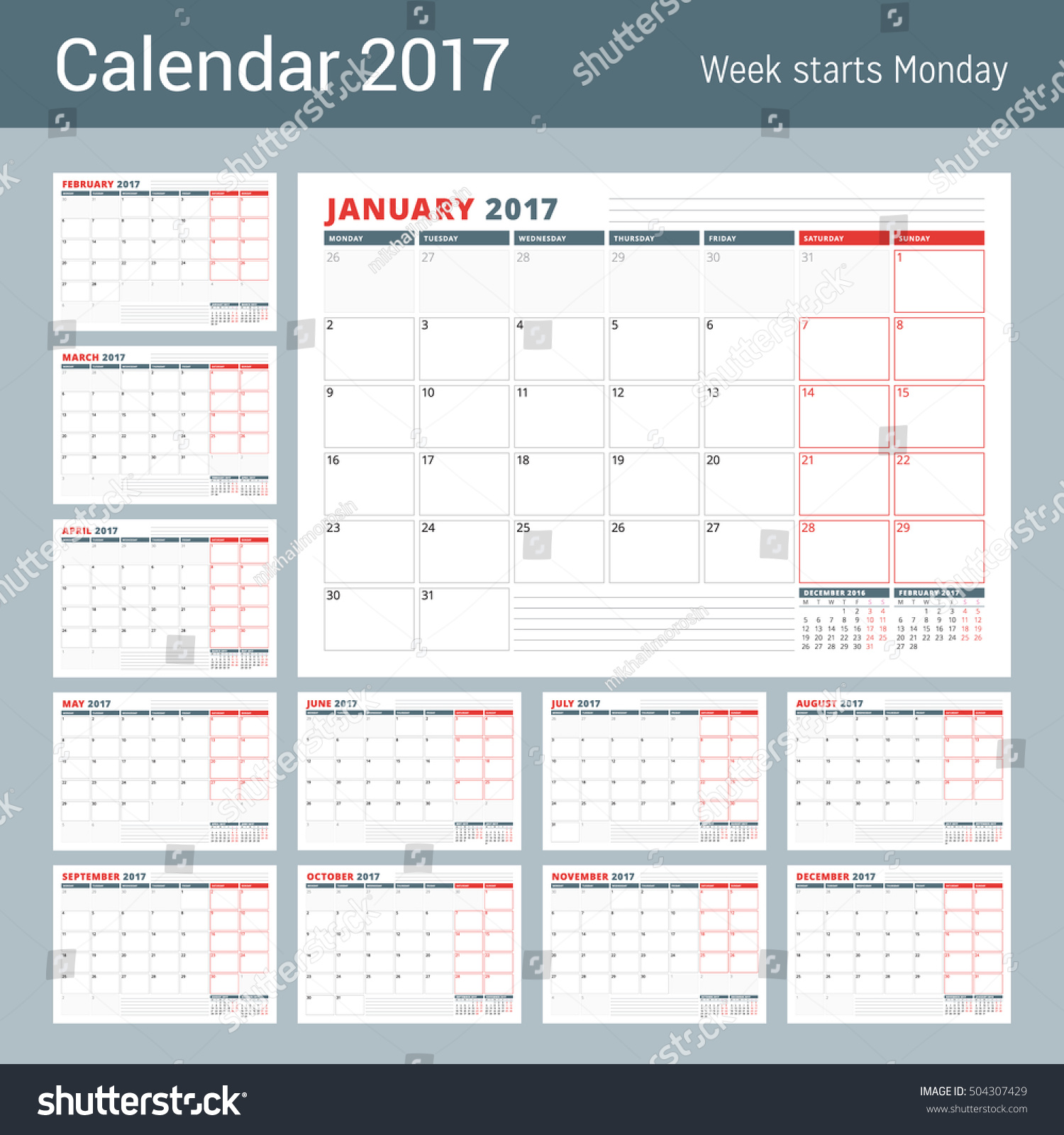 Calendar Planner Vector : Calendar planner template year set stock vector