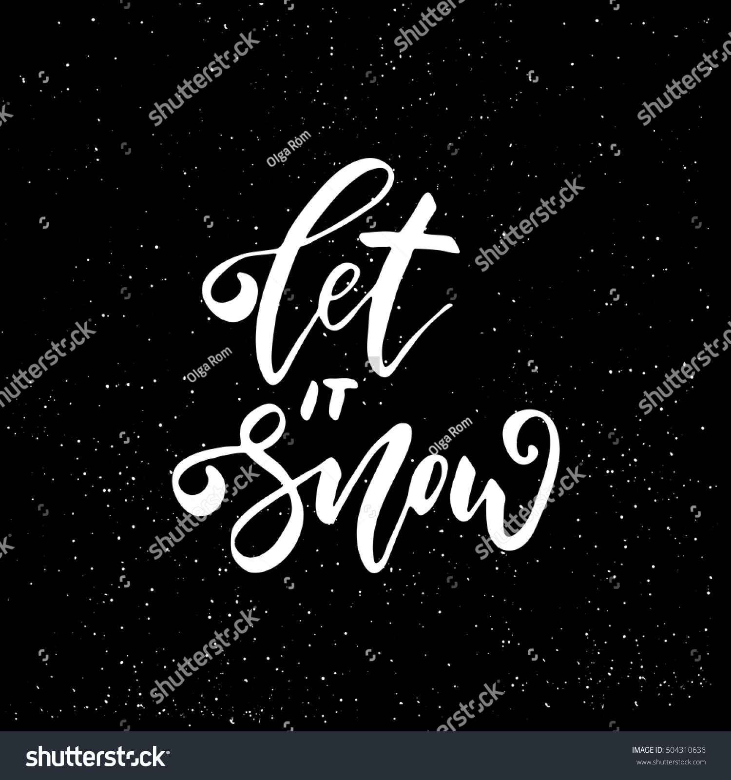 Let It Snow Freehand Ink Hand Drawn Calligraphic Design For Xmas