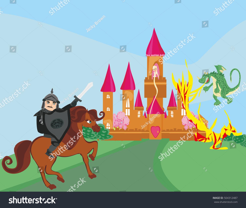 Dragon Attacks Castle Stock Illustration 504312487 - Shutterstock