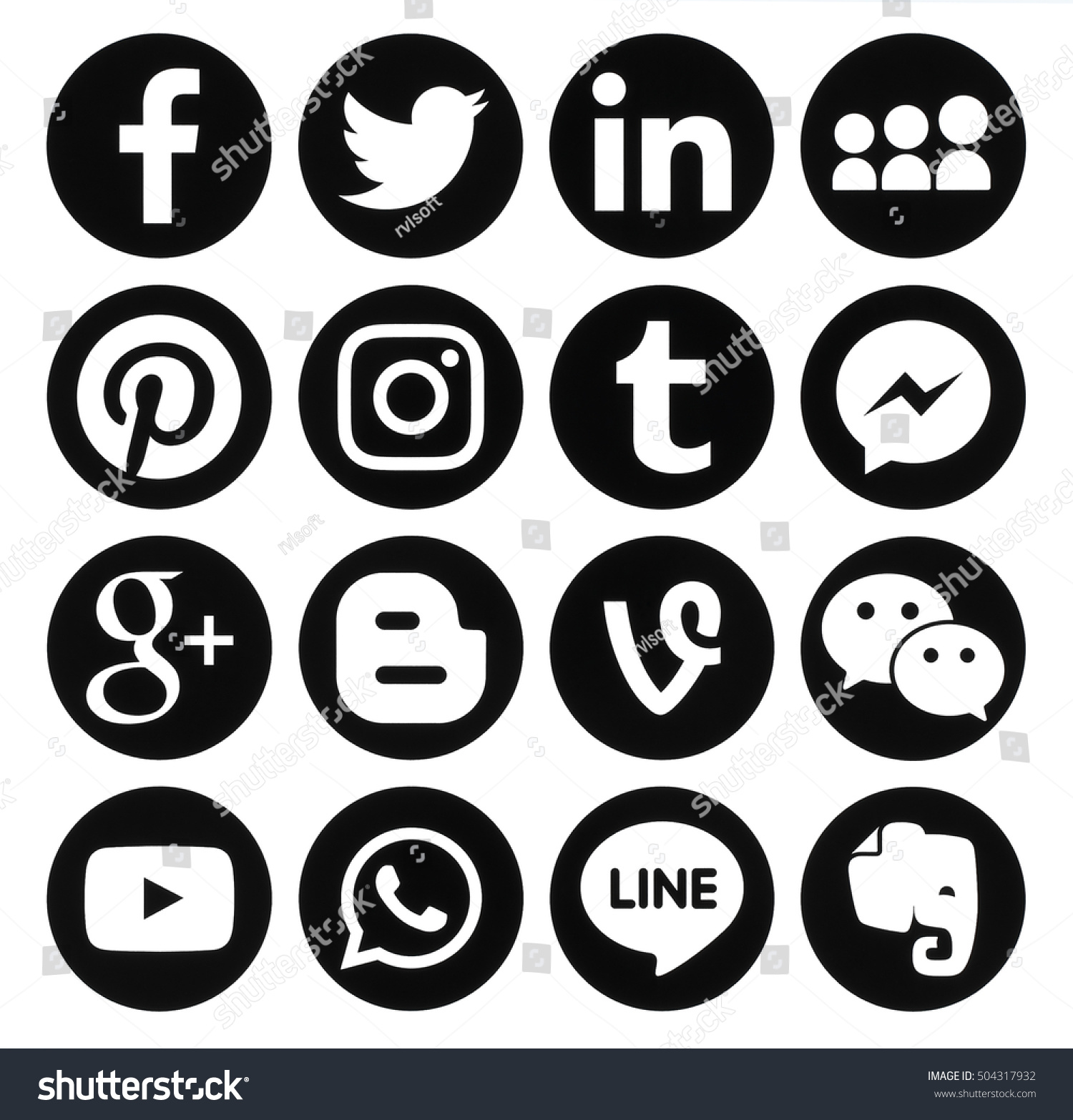 Kiev, Ukraine - October 25, 2016: Collection of popular black round social media icons printed on paper: Facebook, Twitter, Google Plus, Instagram, Pinterest, LinkedIn, Blogger, Tumblr and others