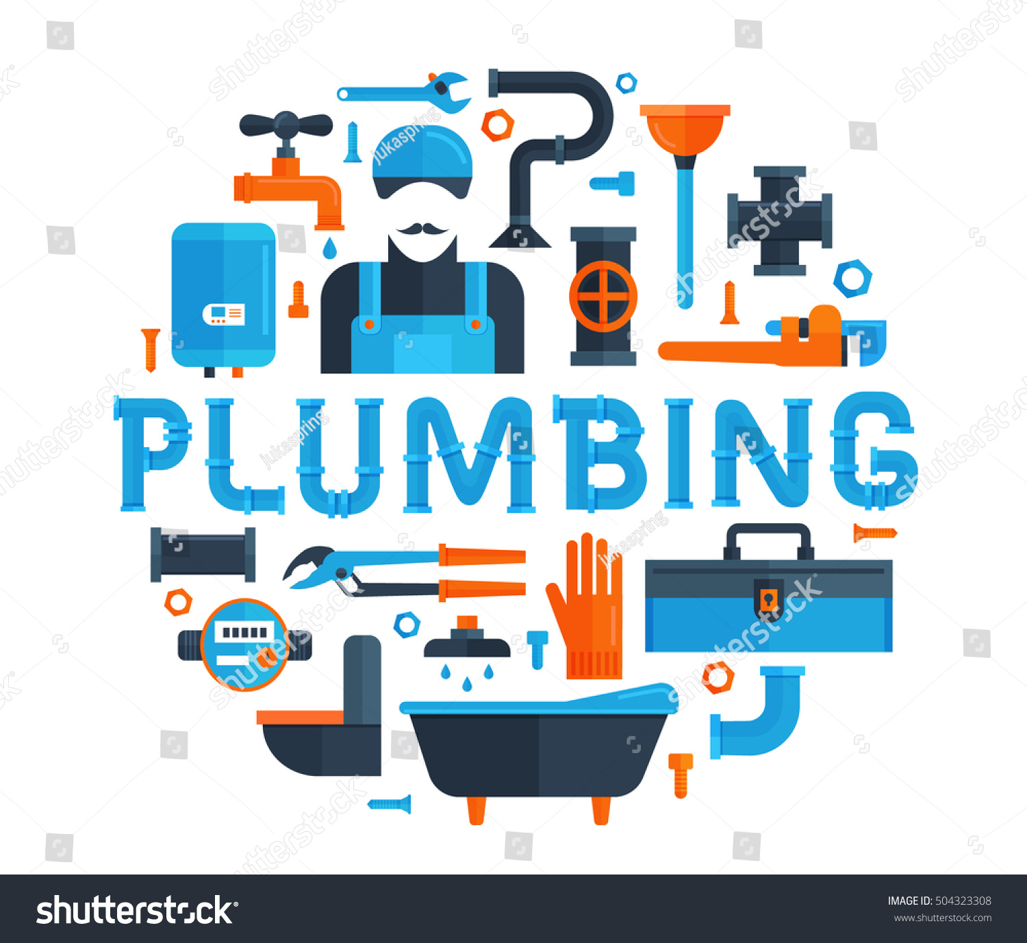 Professional Plumbing Service Flat Icons Water Stock Vector ...