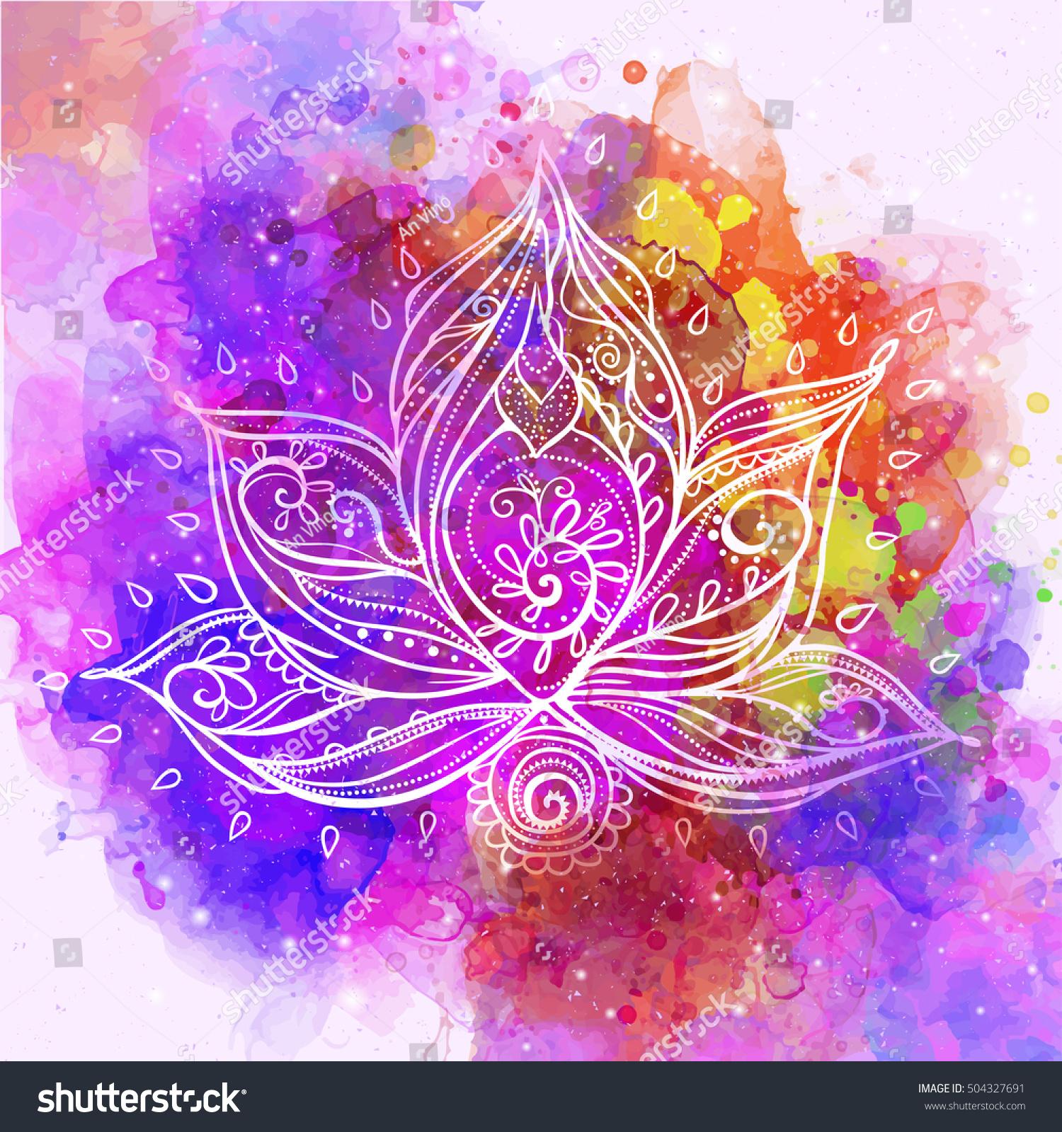 Ornamental Boho Style Lotus Flower Stock Photo 504327691 Avopixcom