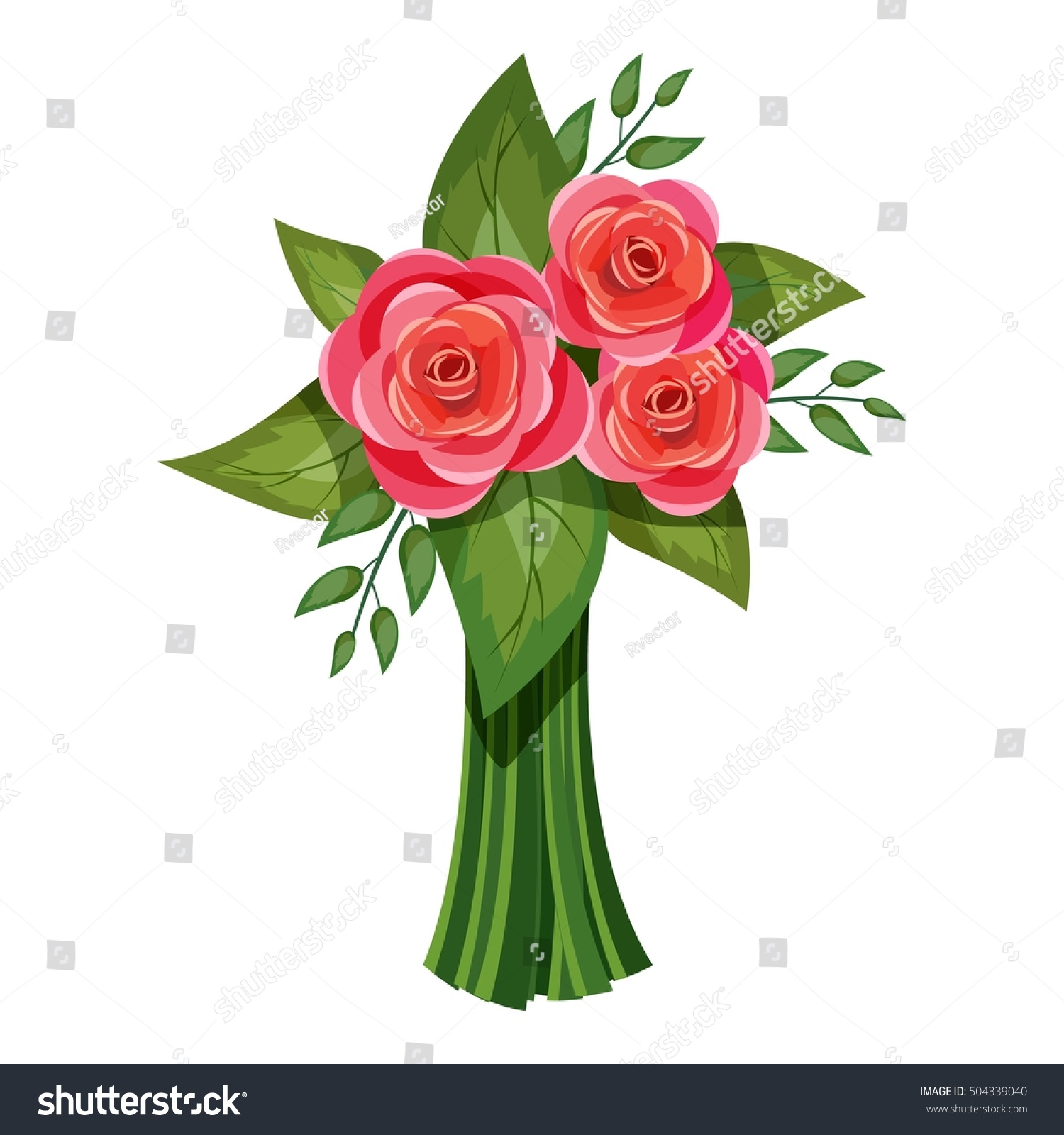 Pink Roses Bouquet Flowers Icon Cartoon Stock Vector 504339040 ...