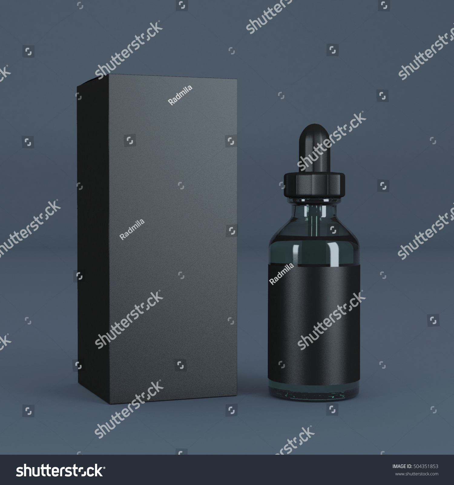 Black Bottle Eye Dropper 3d Rendering Stock Illustration