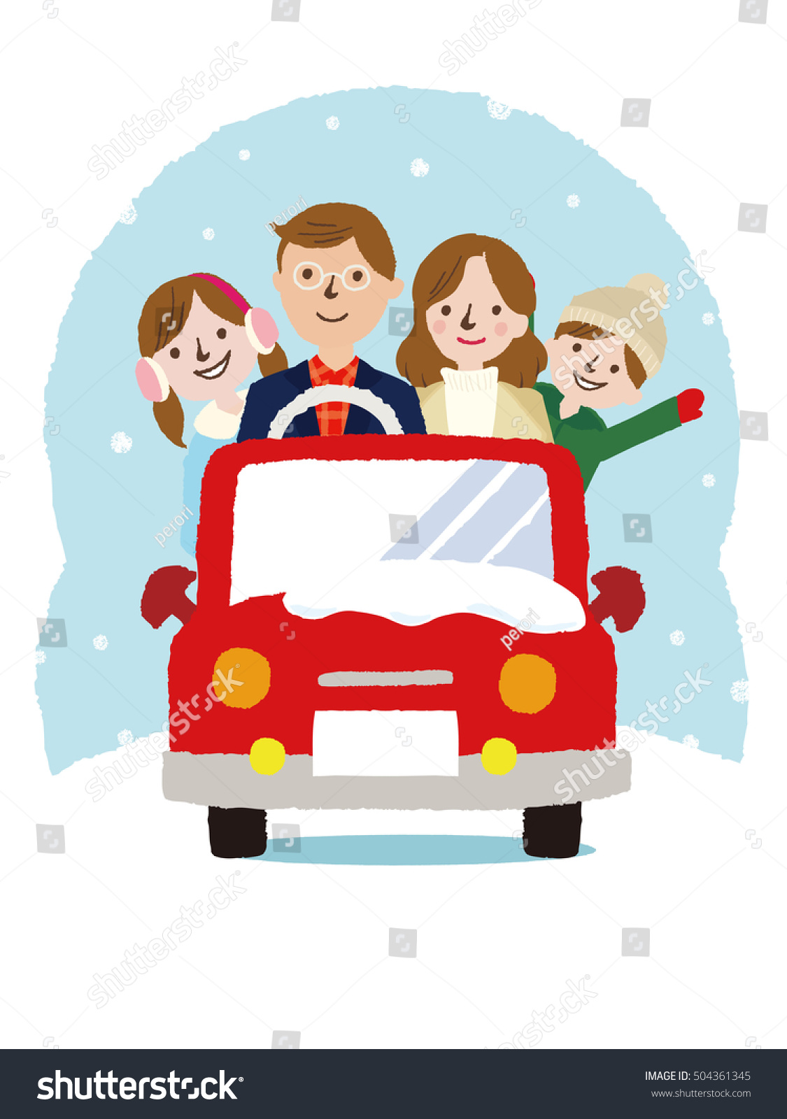 Winter Family On Car Driving To Travel Vacations Holiday