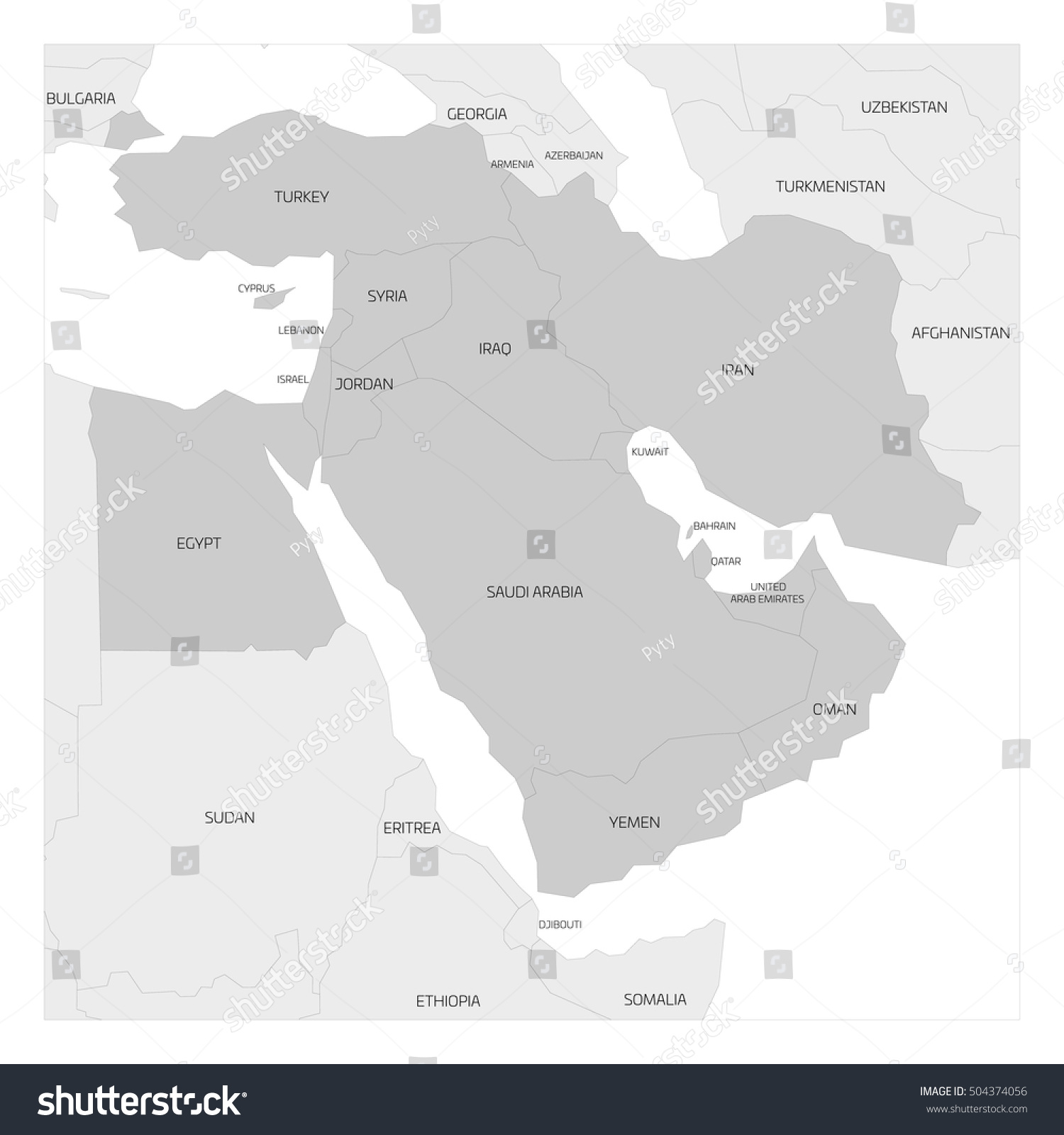 Map middle east near east transcontinental stock vector 504374056 map of middle east or near east transcontinental region with highlighted western asia countries turkey gumiabroncs Image collections