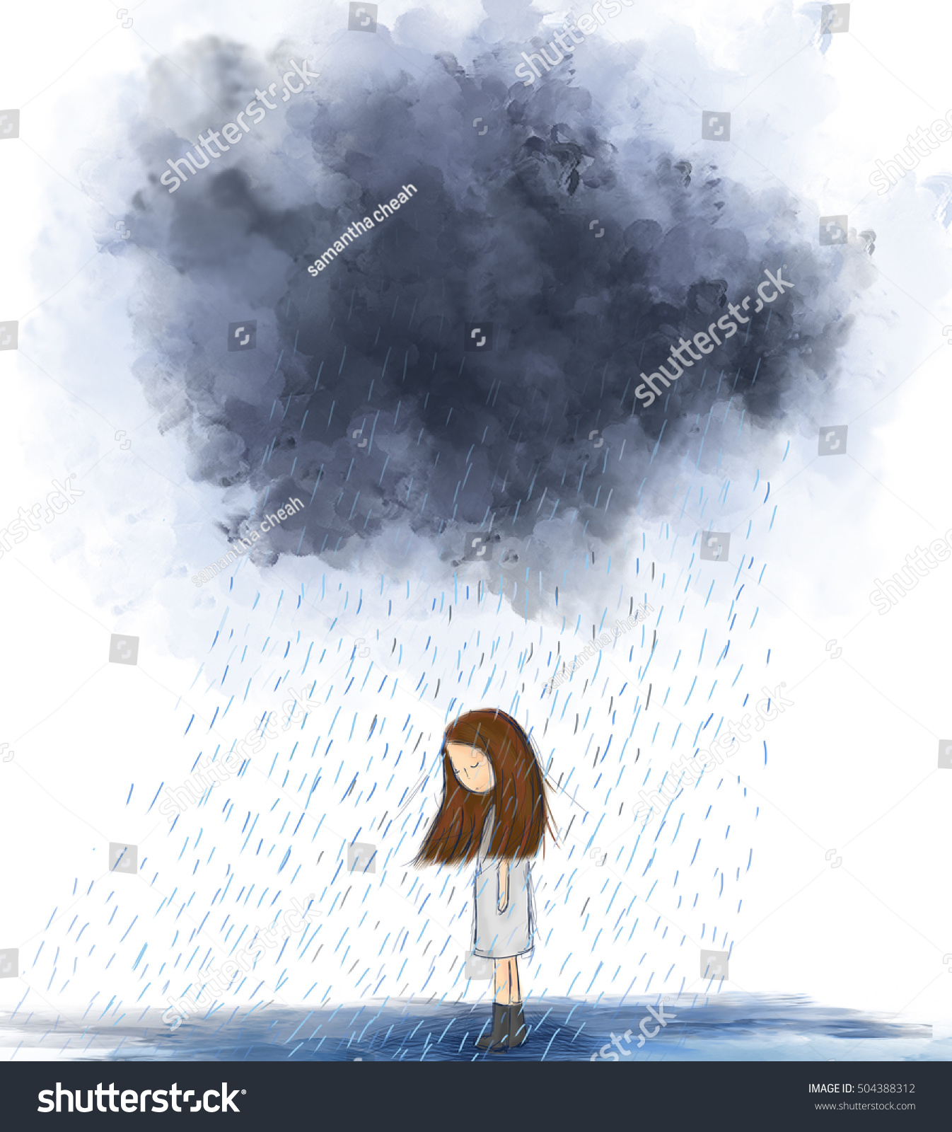 Painting of heart broken girl standing under gray raining cloud idea of storm lonely