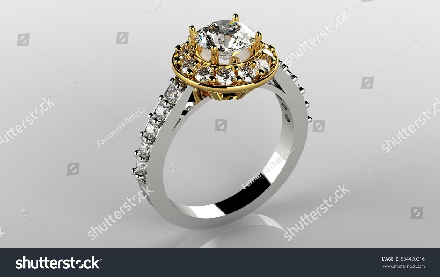 3d Ring Renderlady Ring Yellow White Stock Illustration 504400216 ...