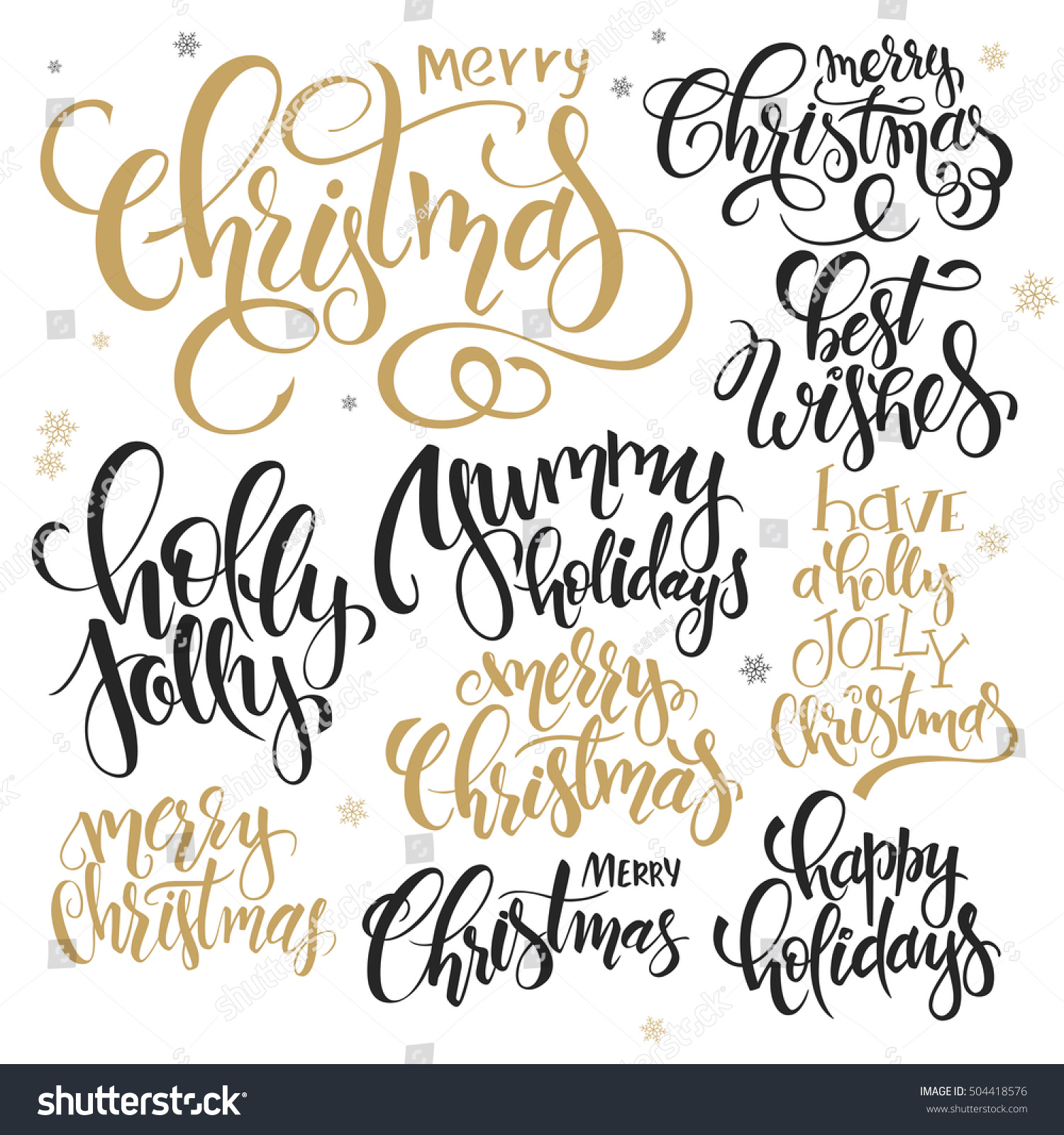 Vector set hand lettering christmas quotes stock
