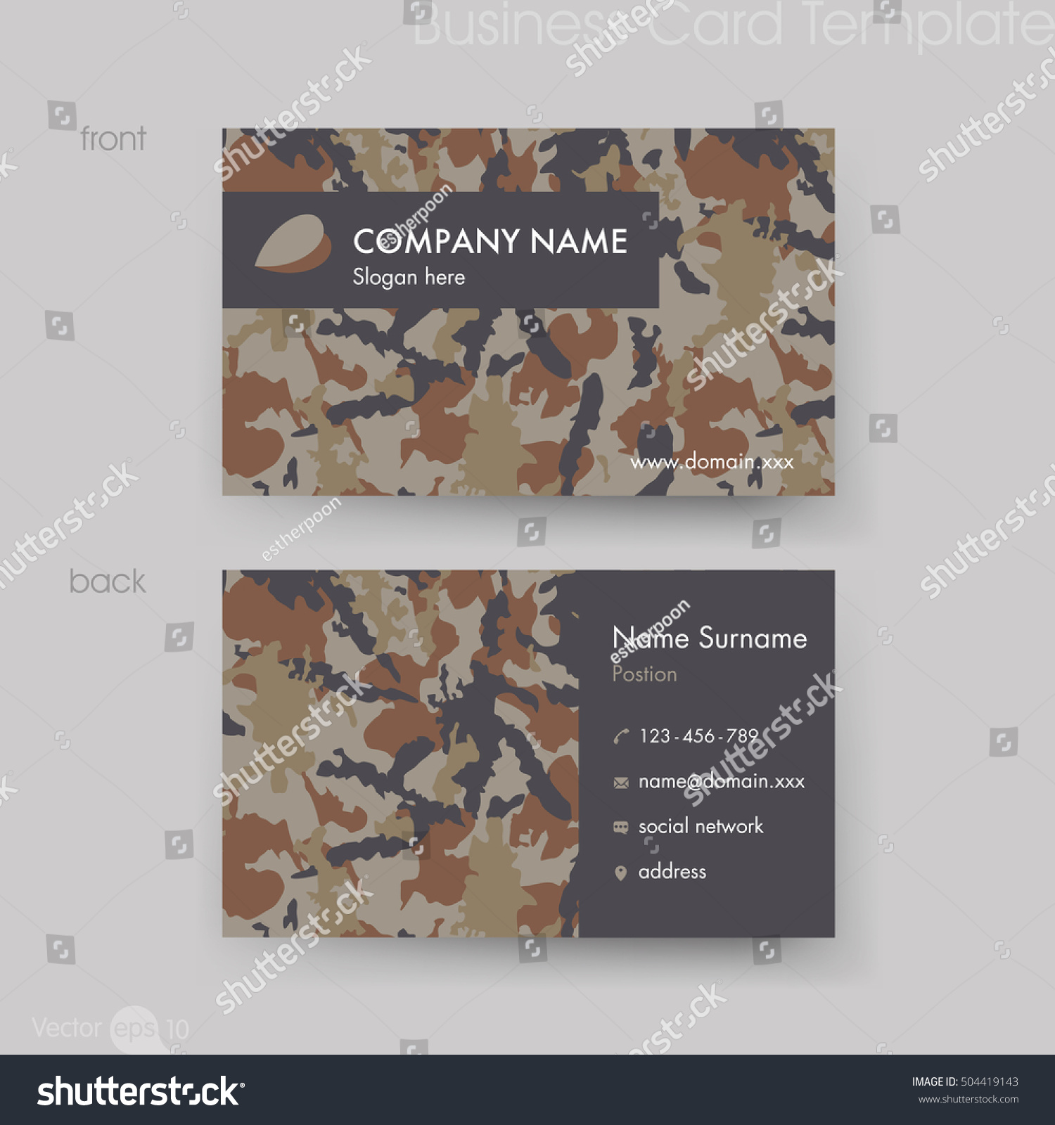 Camouflage Pattern Business Card Template Stock Vector 504419143 ...