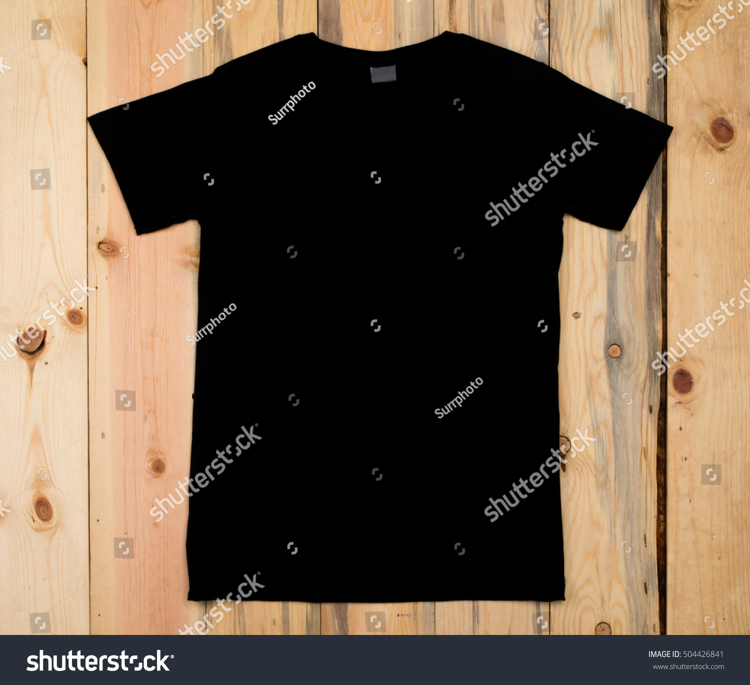 Black Blank Tshirt Bon Wooden Background Stock Photo 504426841 ...