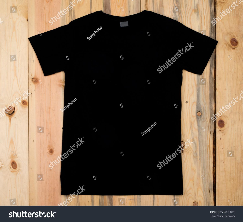 Black Blank Tshirt Bon Wooden Background Stock Photo 504426841 ...