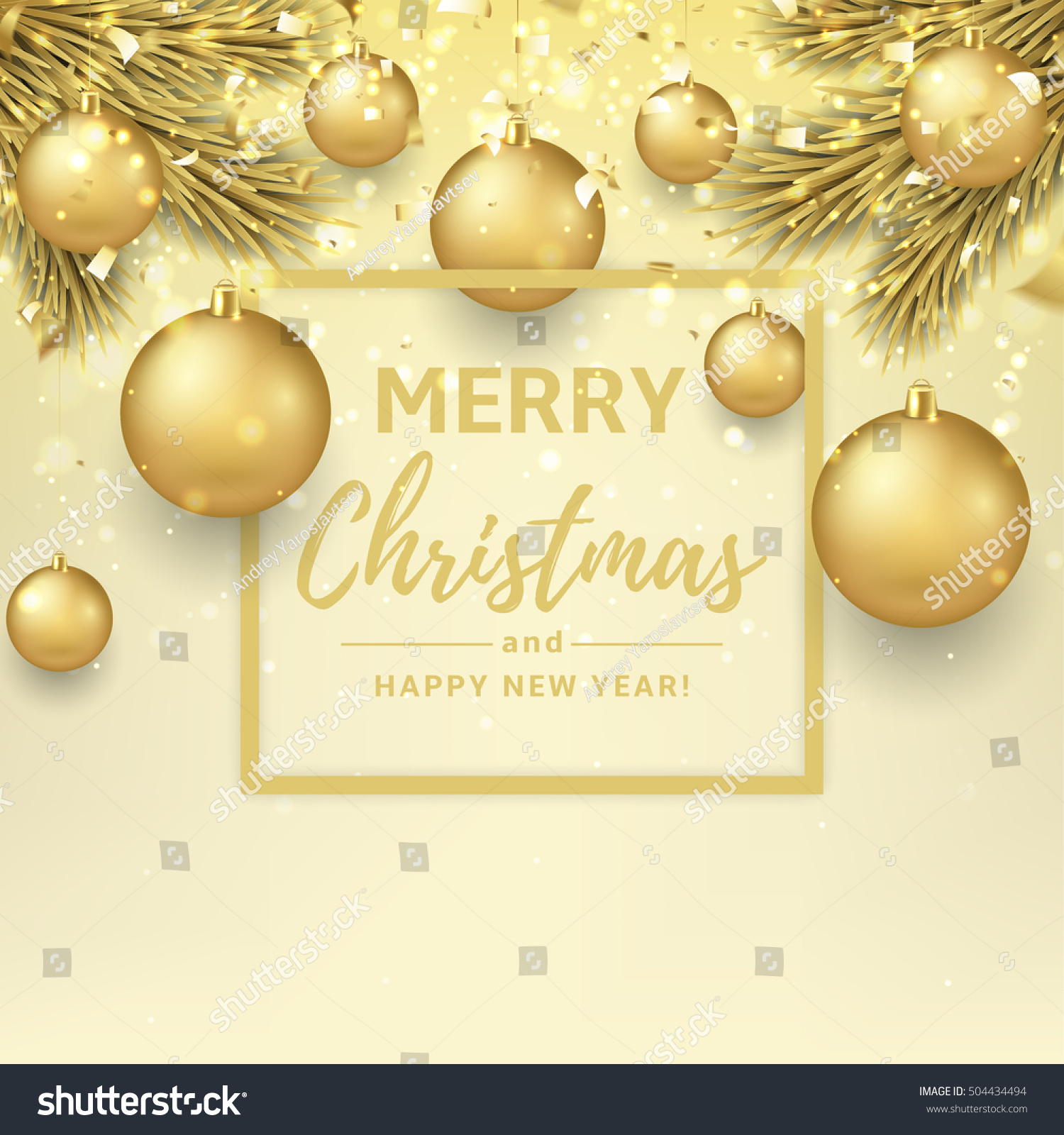 merry christmas happy new year illustration stock vector