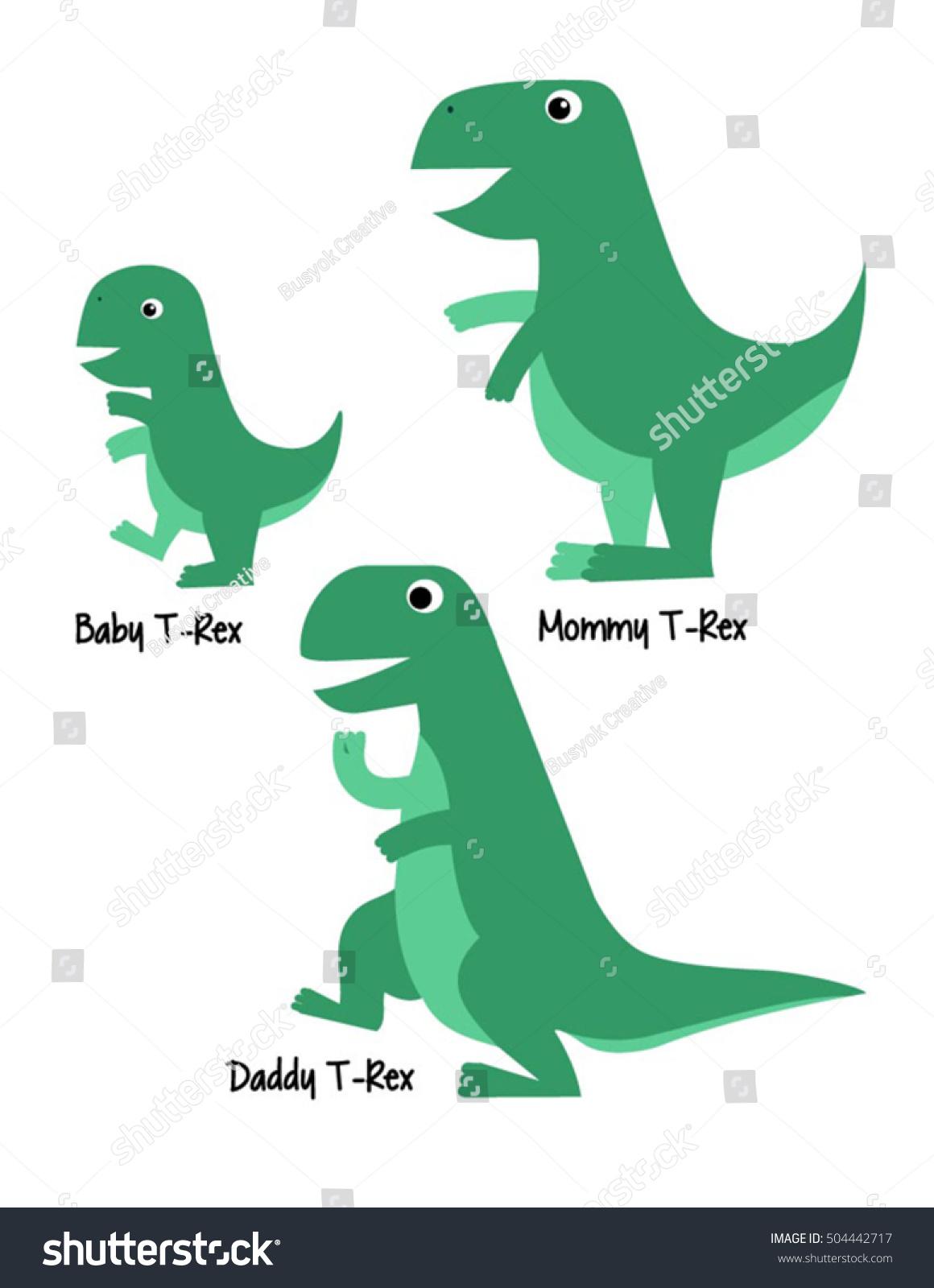 Cute tyrannosaurus rex family dinosaur vector stock vector for T rex family