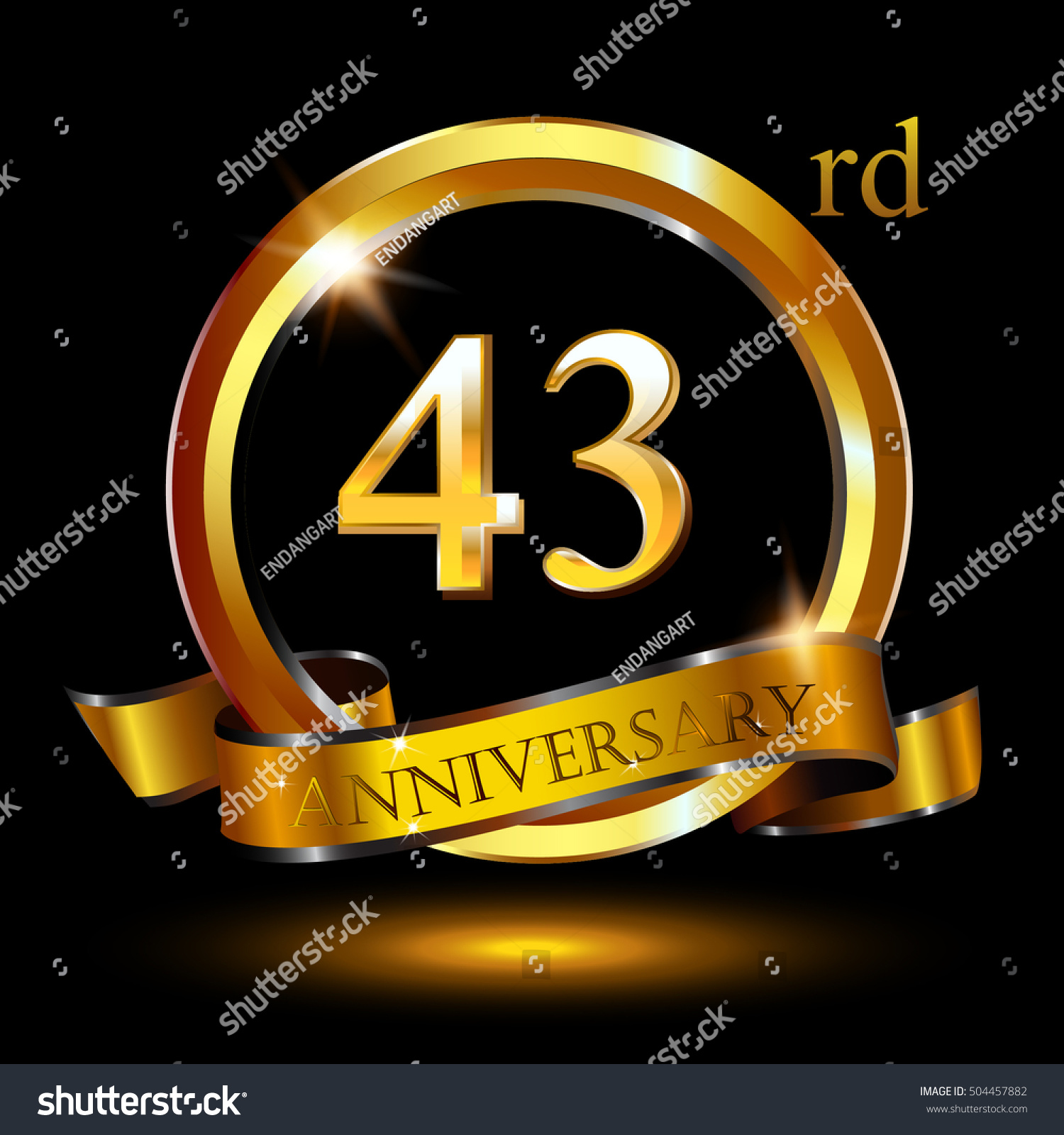 43rd Golden Anniversary Logo 43 Years Stock Vector Royalty Free