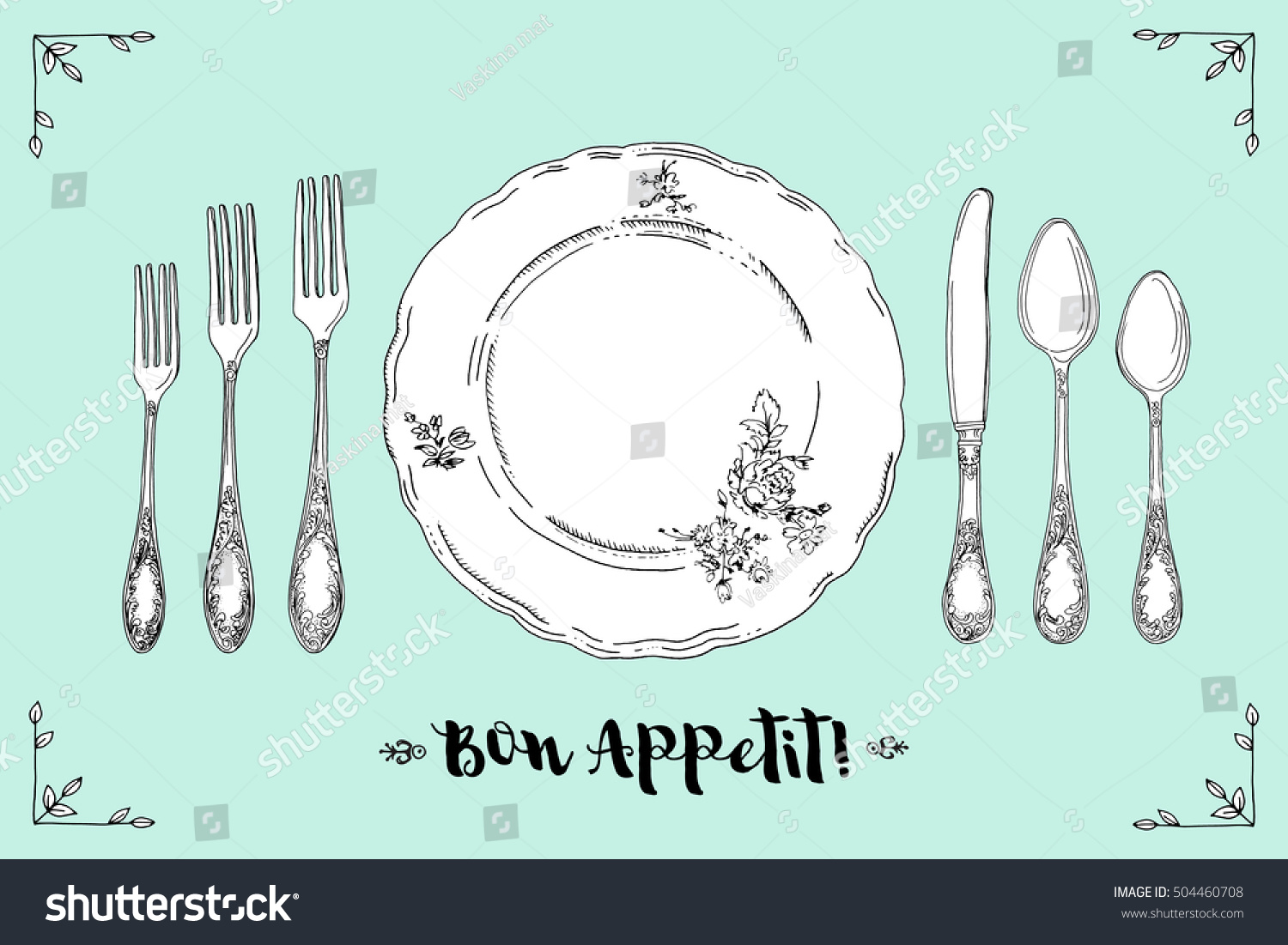Hand drawn illustration of curly ornamental silver tableware plate a turquoise background Table setting set Hand drawn design element Sketch vintage Vector Illustration