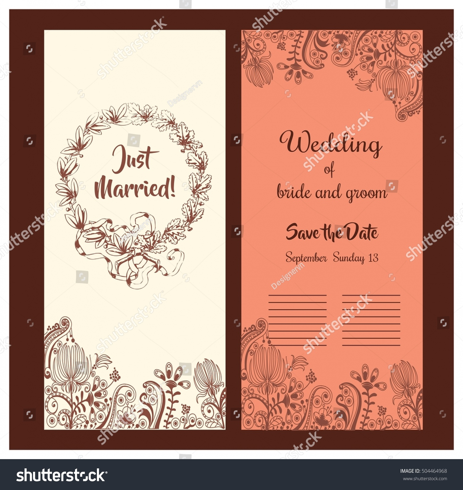wedding card design classical style flowers stock vector 504464968