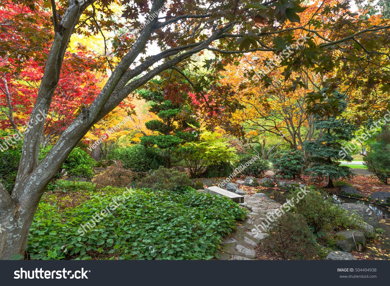 Fall Colors Japanese Garden Lithia Park Stock Photo (Royalty Free ...