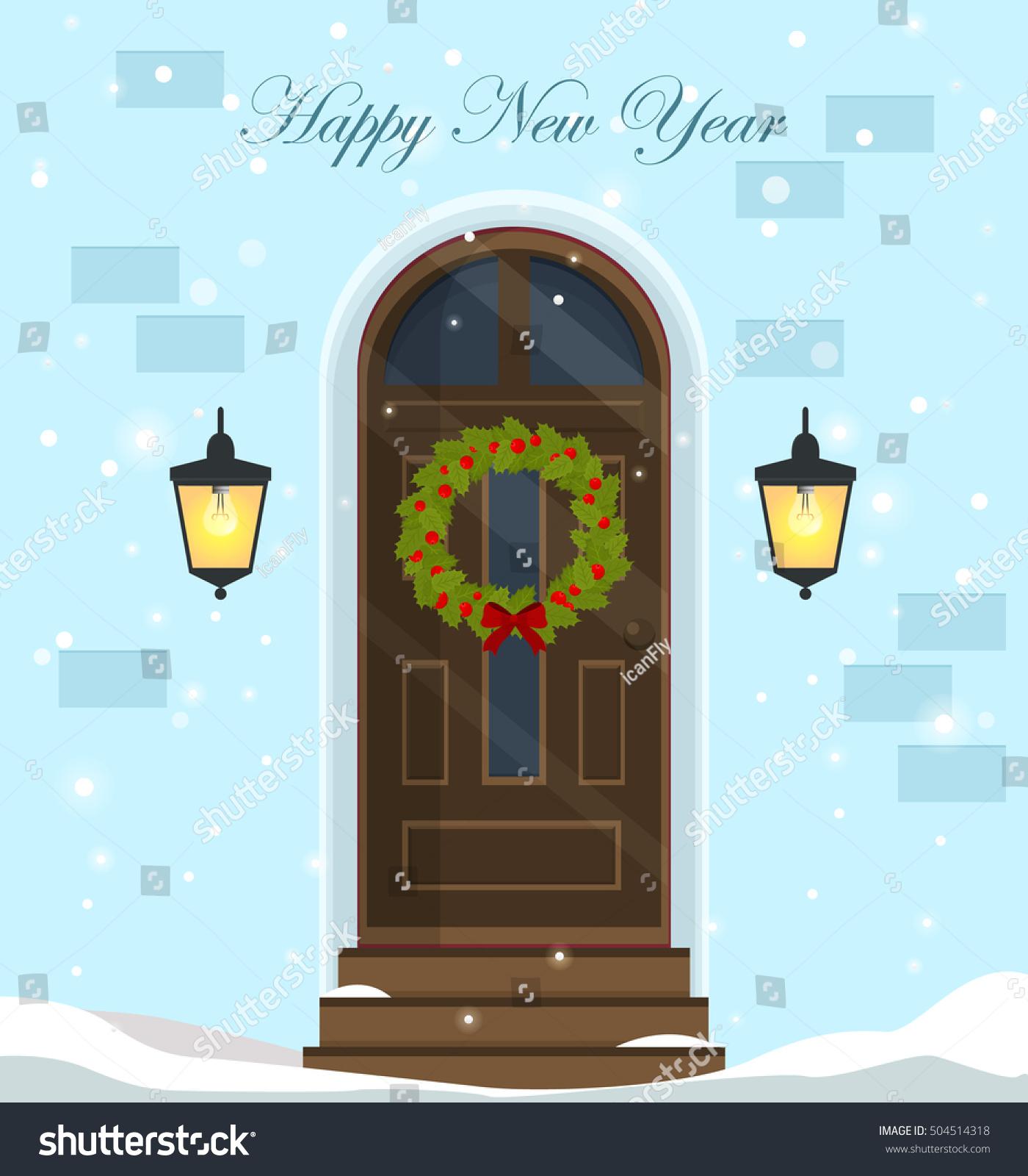 Happy New Yeardoor Decoration Christmas Holidaysfront ...