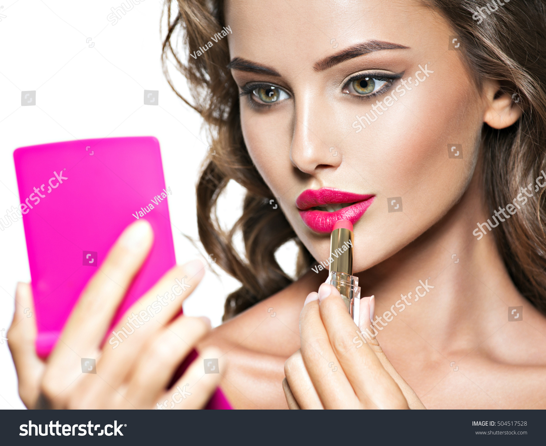 Woman Applying Lipstick Looking Mirror Beautiful Stock Photo 504517528 - Shutterstock