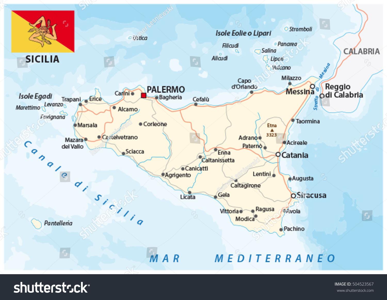 Road Map Italian Mediterranean Island Sicily Stock Vector 2018