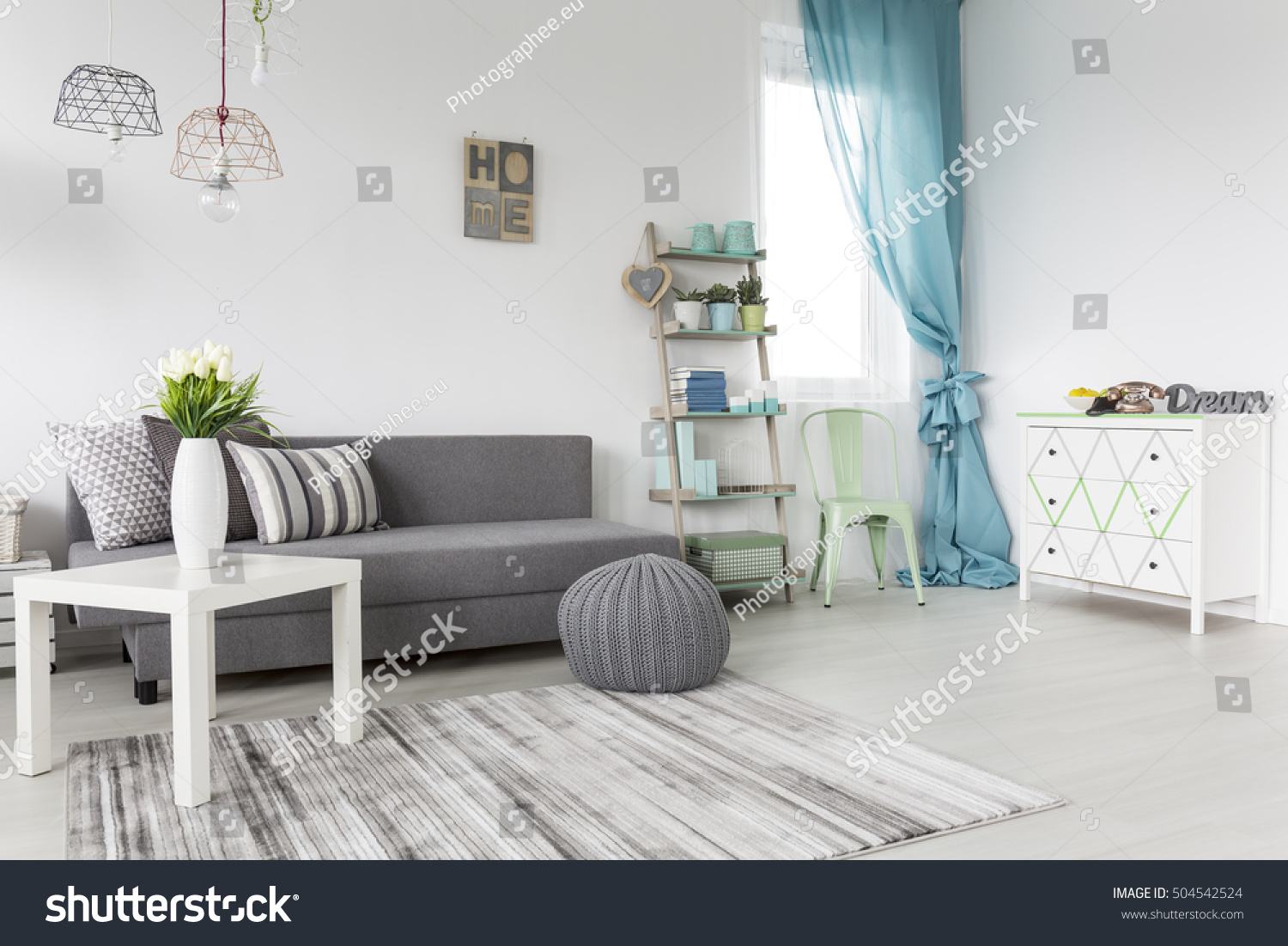 Grey Living Room Mint Curtains White Stock Photo Edit Now 504542524
