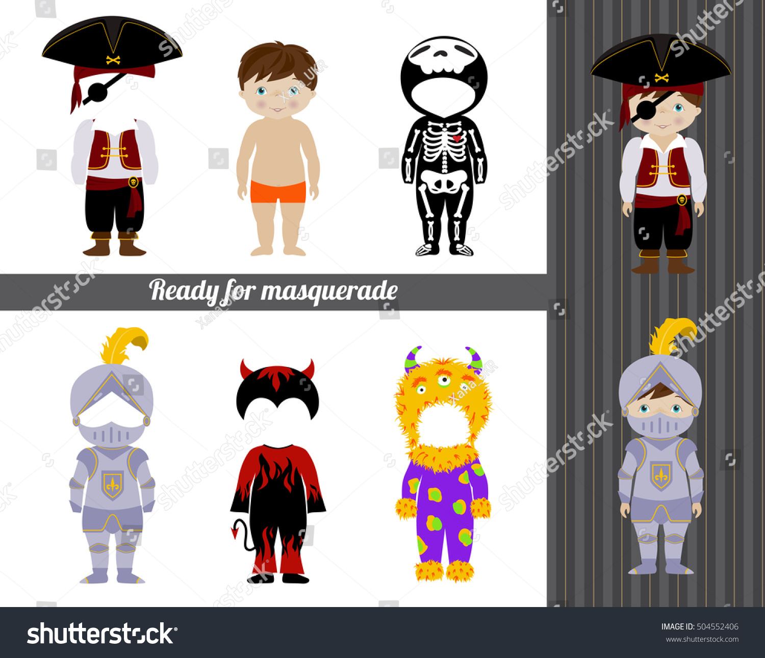 Fancy Dresses Collection Kids Cute Little Stock Vector Royalty Free