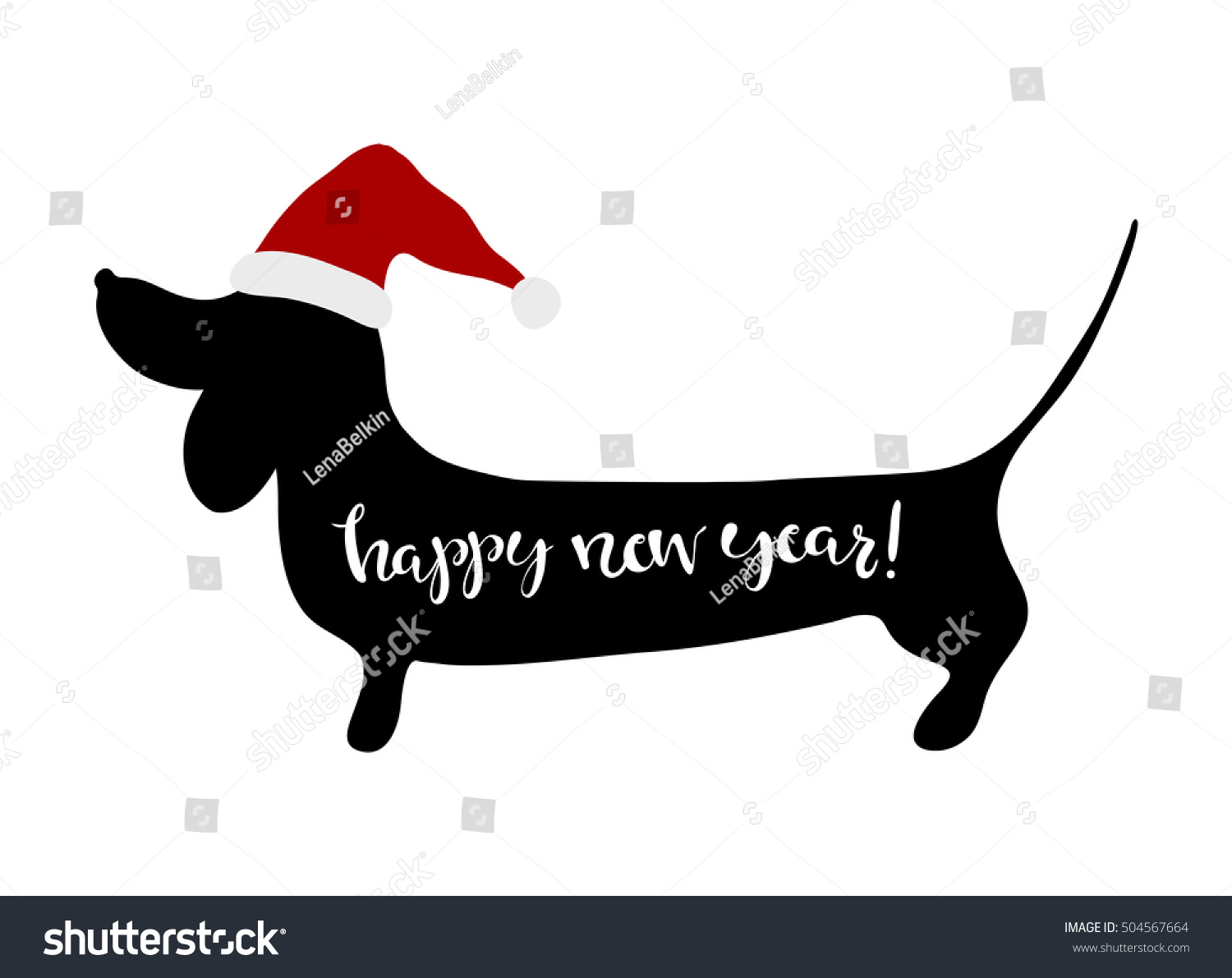 Happy New Year Greeting Card Dachshund Stock Vector Royalty Free