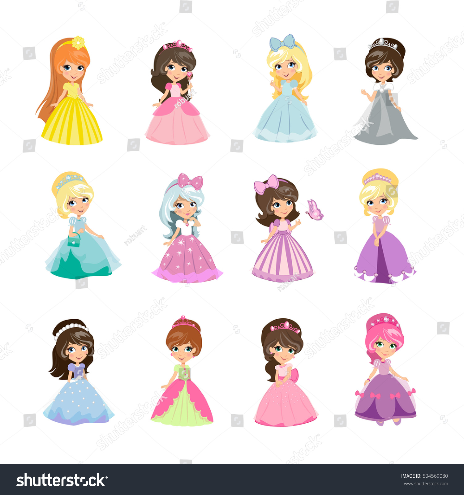Princesses Girls Evening Gowns Isolated Elegant Stock Vector 504569080 Shutterstock