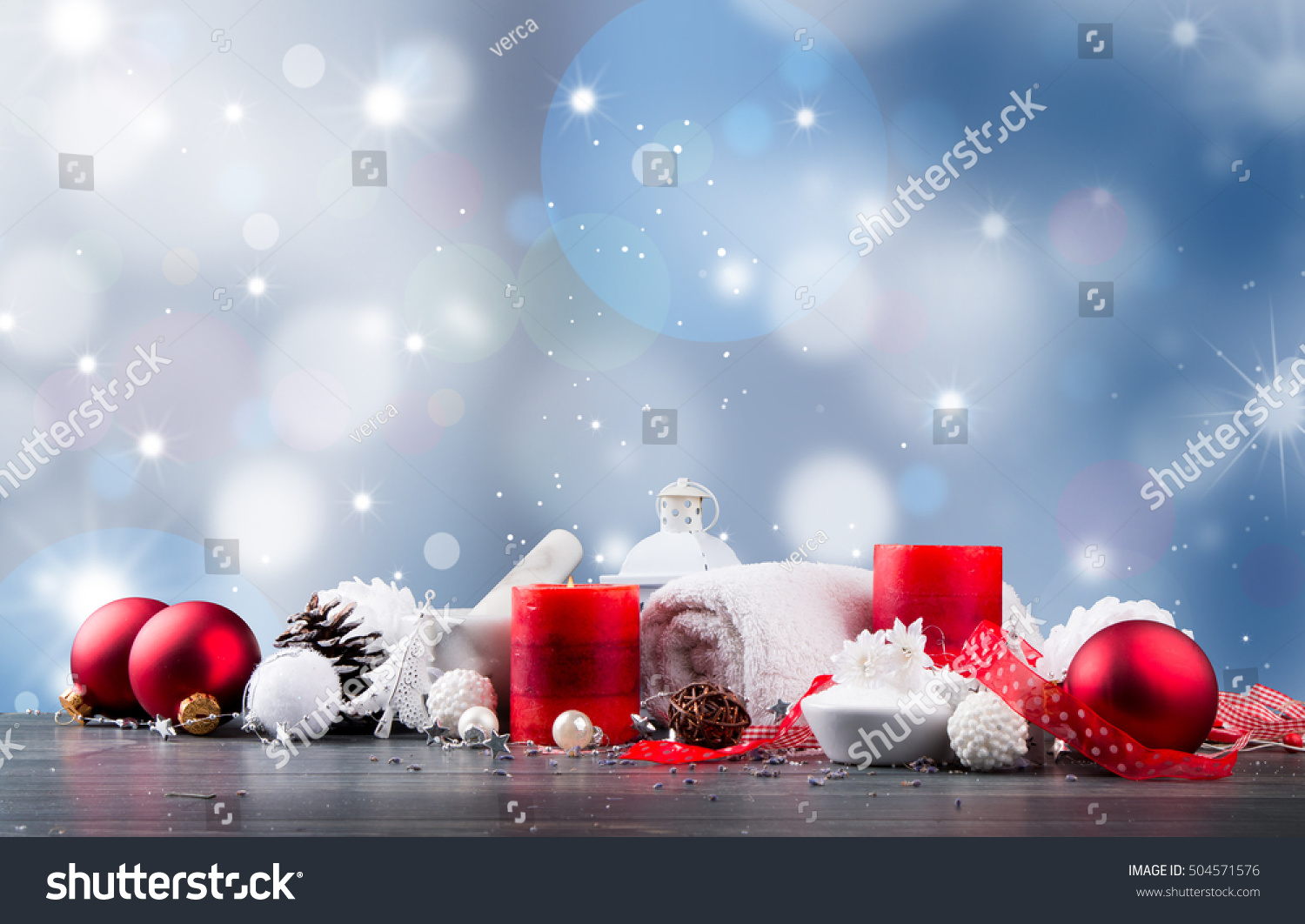 Spa Massage Setting Product Oil Christmas Stock Photo (Edit Now ...