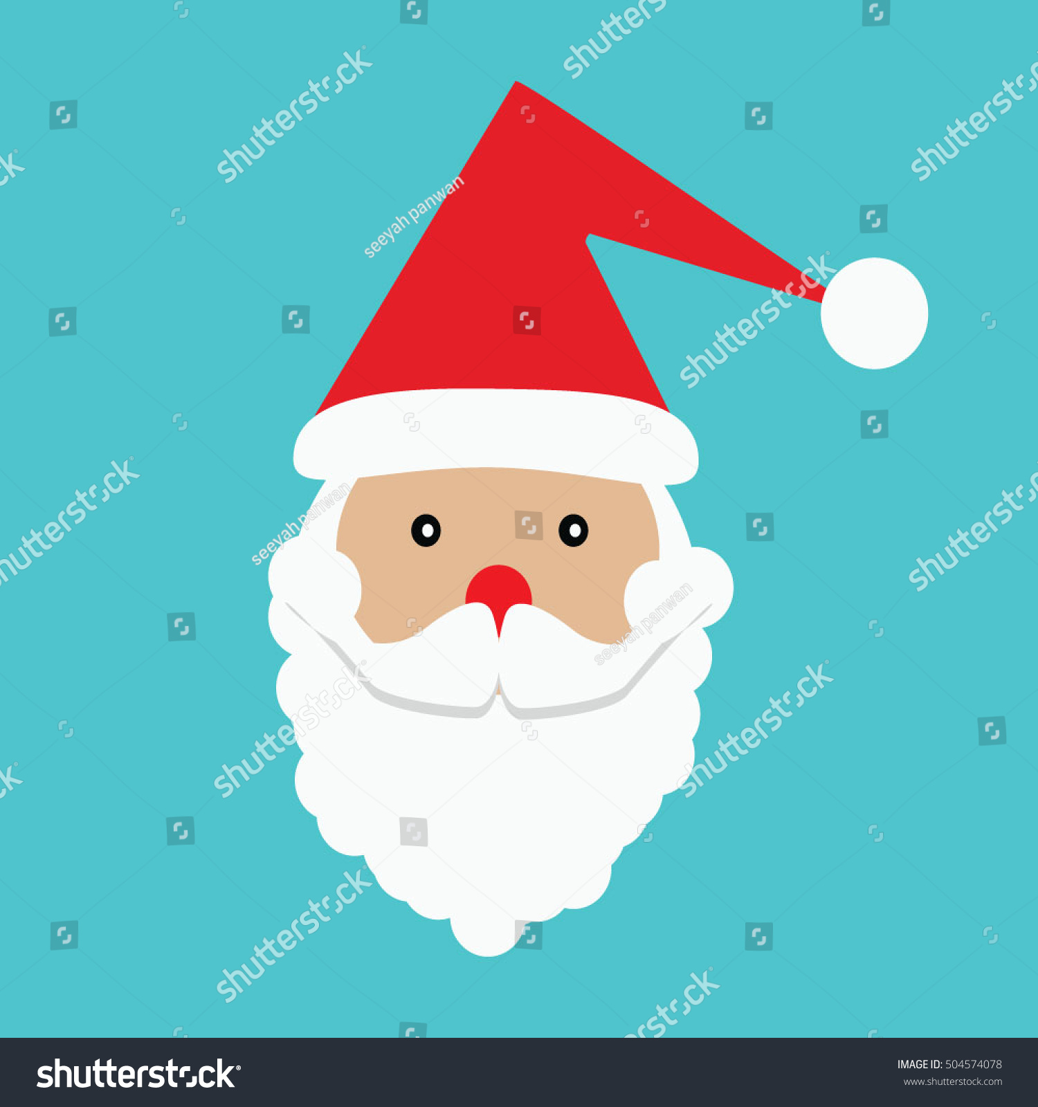 Santa Claus icon. Santa Claus face in flat design. Christmas card ...