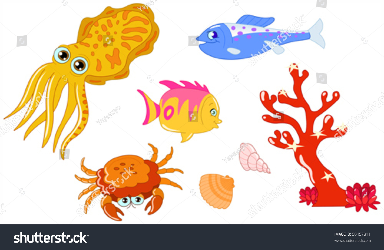 Cute Cartoon Sea Creatures Seashell Set Stock Vector ...